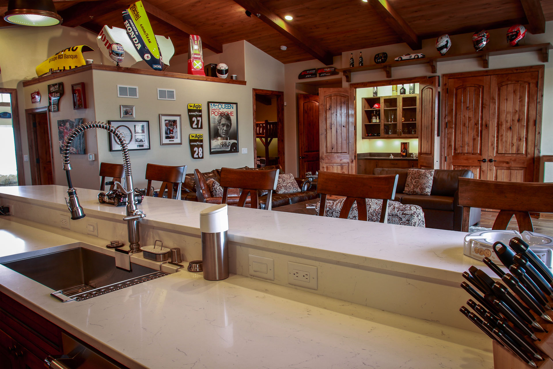 Ample bar, living, and dining seating in this spacious villa.