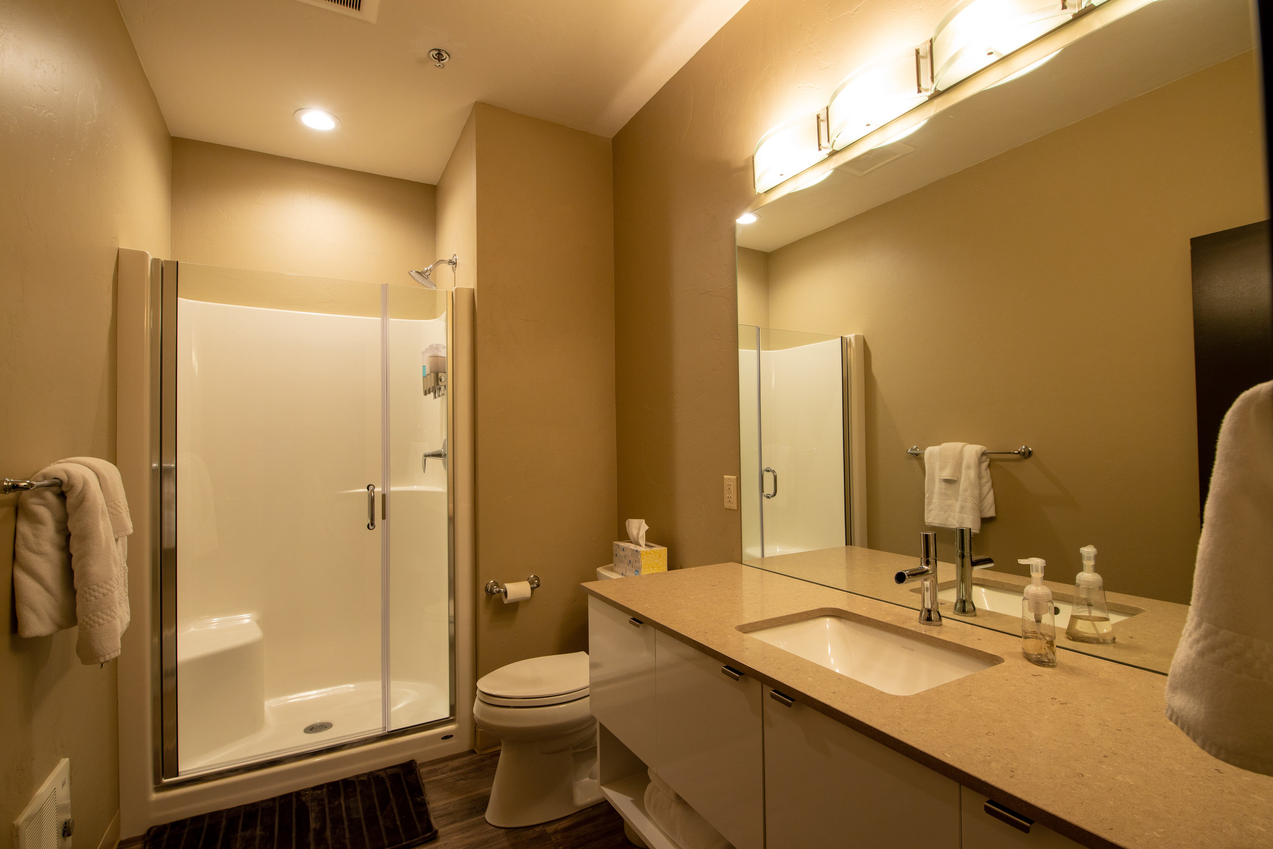 Each of The Monaco's Suites Feature a Full Bath with Hotel Amenities