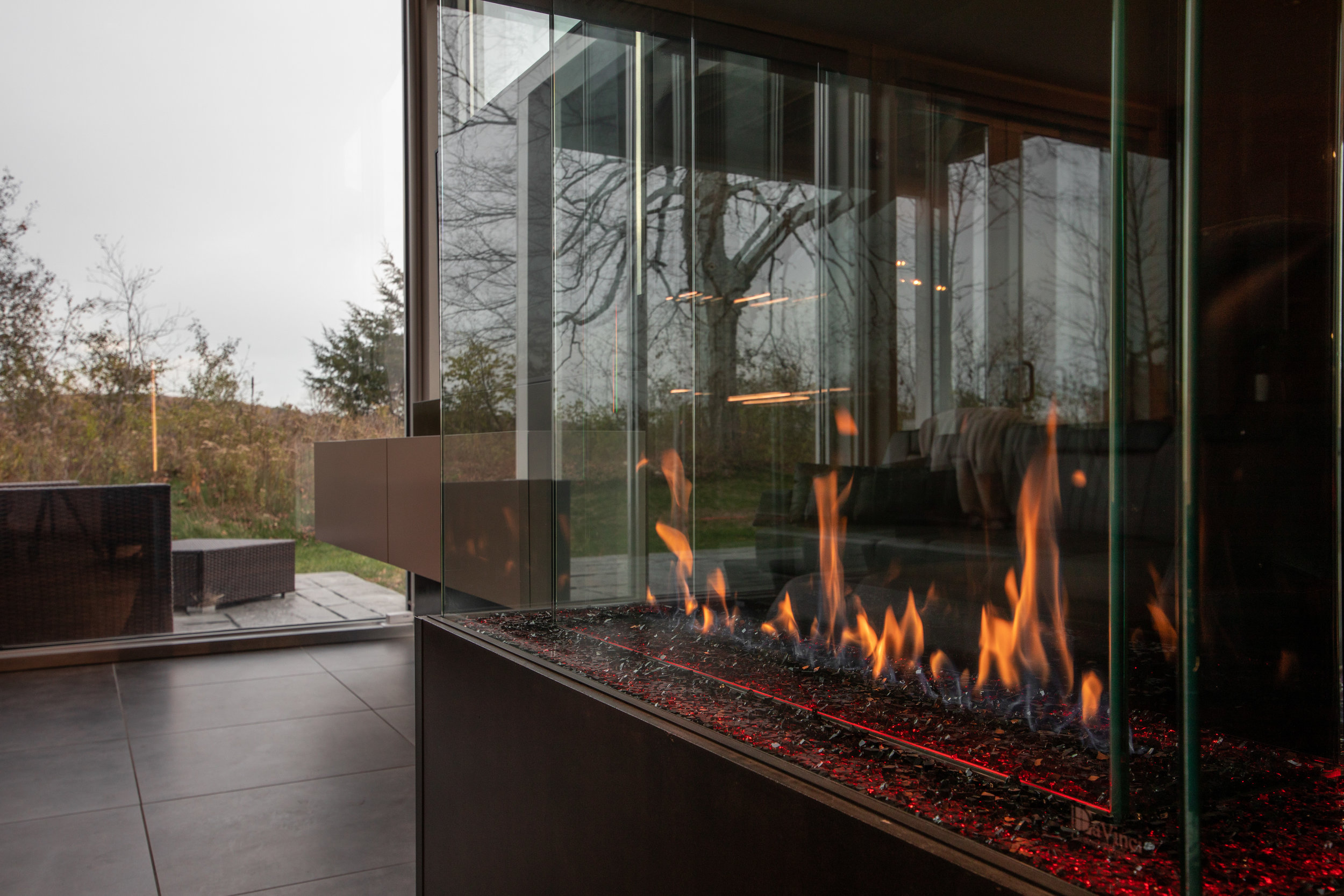 Monte Carlo features a custom, three-sided, fireplace for those relaxing nights in.