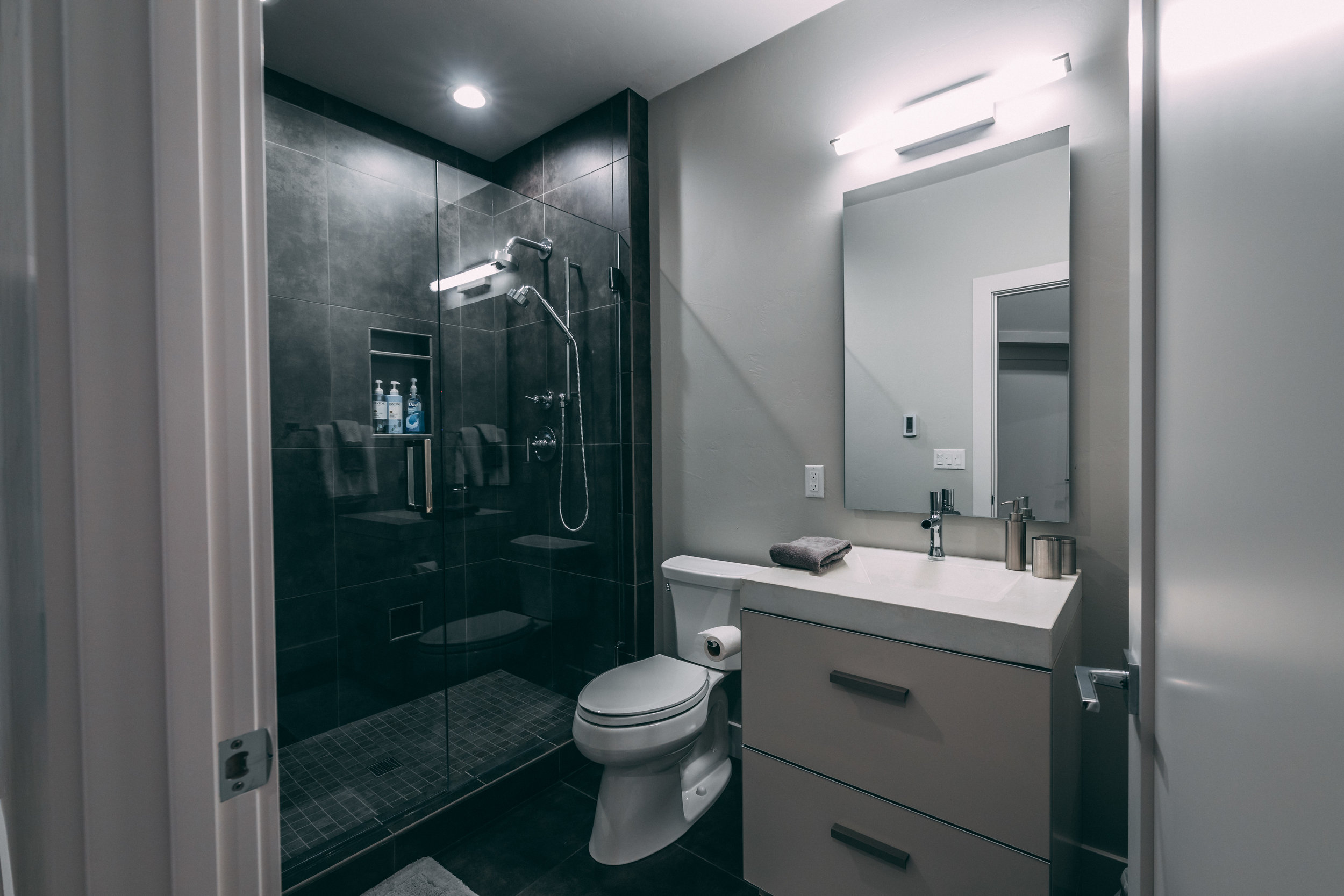 Monte Carlo's guest bathroom is created around KOHLER's simplistic and strong faucets and quality.