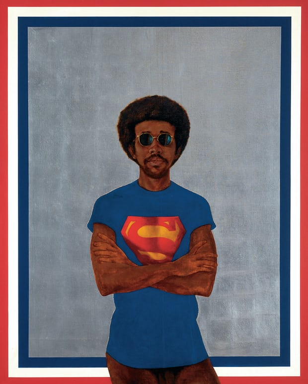 Al Loving Reviewed in the Guardian - July 16, 2017A man with shades and a perfectly picked afro stands against a flat silver background. He is dressed in a Superman T-shirt. His muscular arms are folded in a painting as sharply defined as a medieval icon, yet as modern as his aviator shades. The canvas, from 1969, is highly stylised and irreducibly cool.This is the self-portrait of Barkley L Hendricks, who died in April at the age of 72. Its visual double take – black man in white man's costume, and in his painterly tradition – is multiplied by the mordant title. Icon for My Man Superman (Superman Never Saved Any Black People – Bobby Seale) quotes a famous remark of the founder of the Black Panthers. But Hendricks has no need of Superman. He saves himself – hero of his own fiercely intelligent painting.