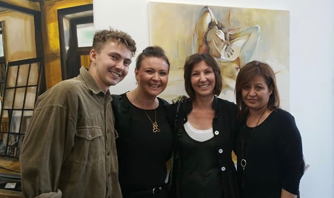 London International Art Competition 2017 - Michelle & artist Rory Watson with HLS Gallery curatorsMay - June 2017, HLS Gallery, London