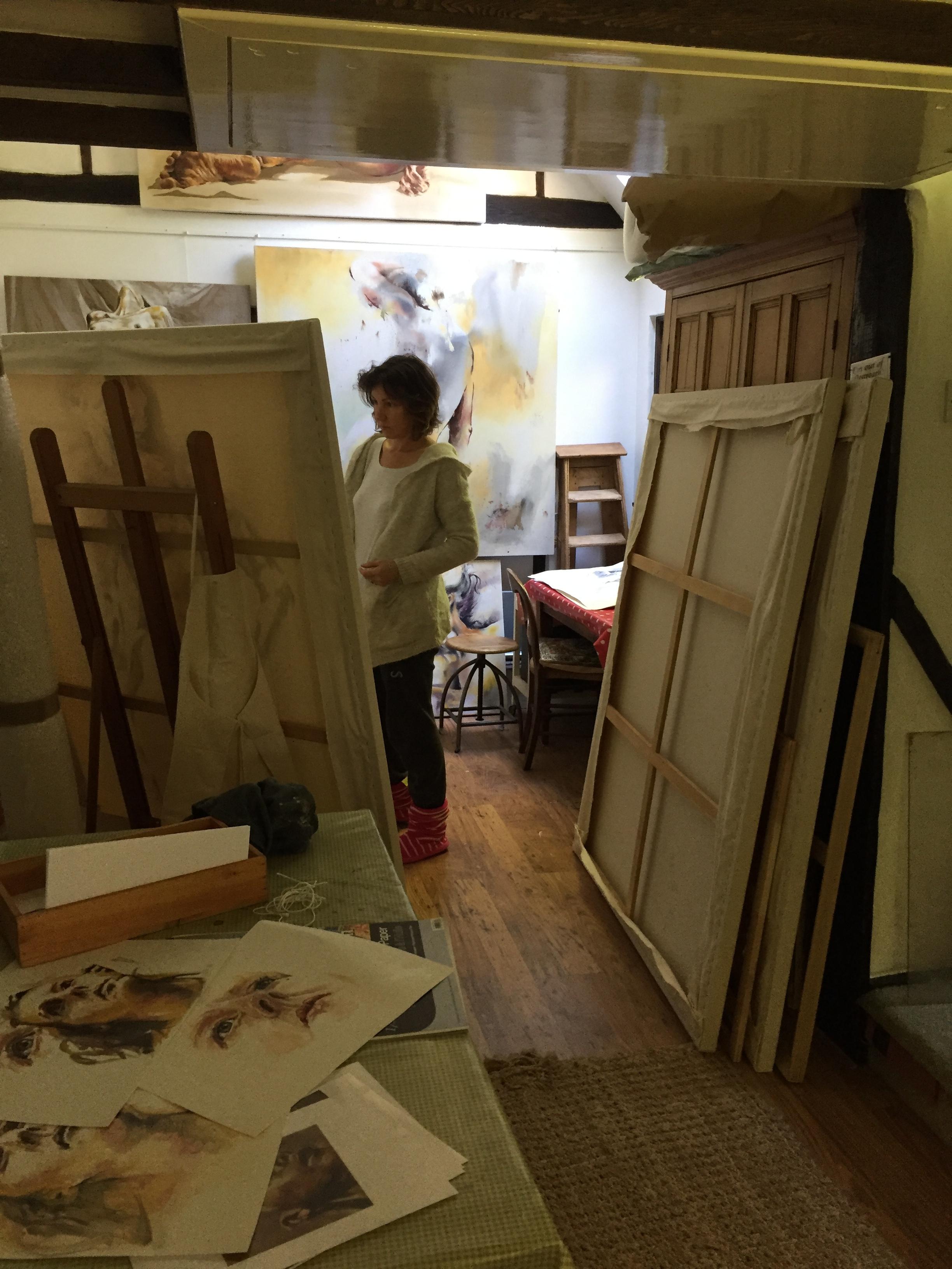 Michelle working in her studio -