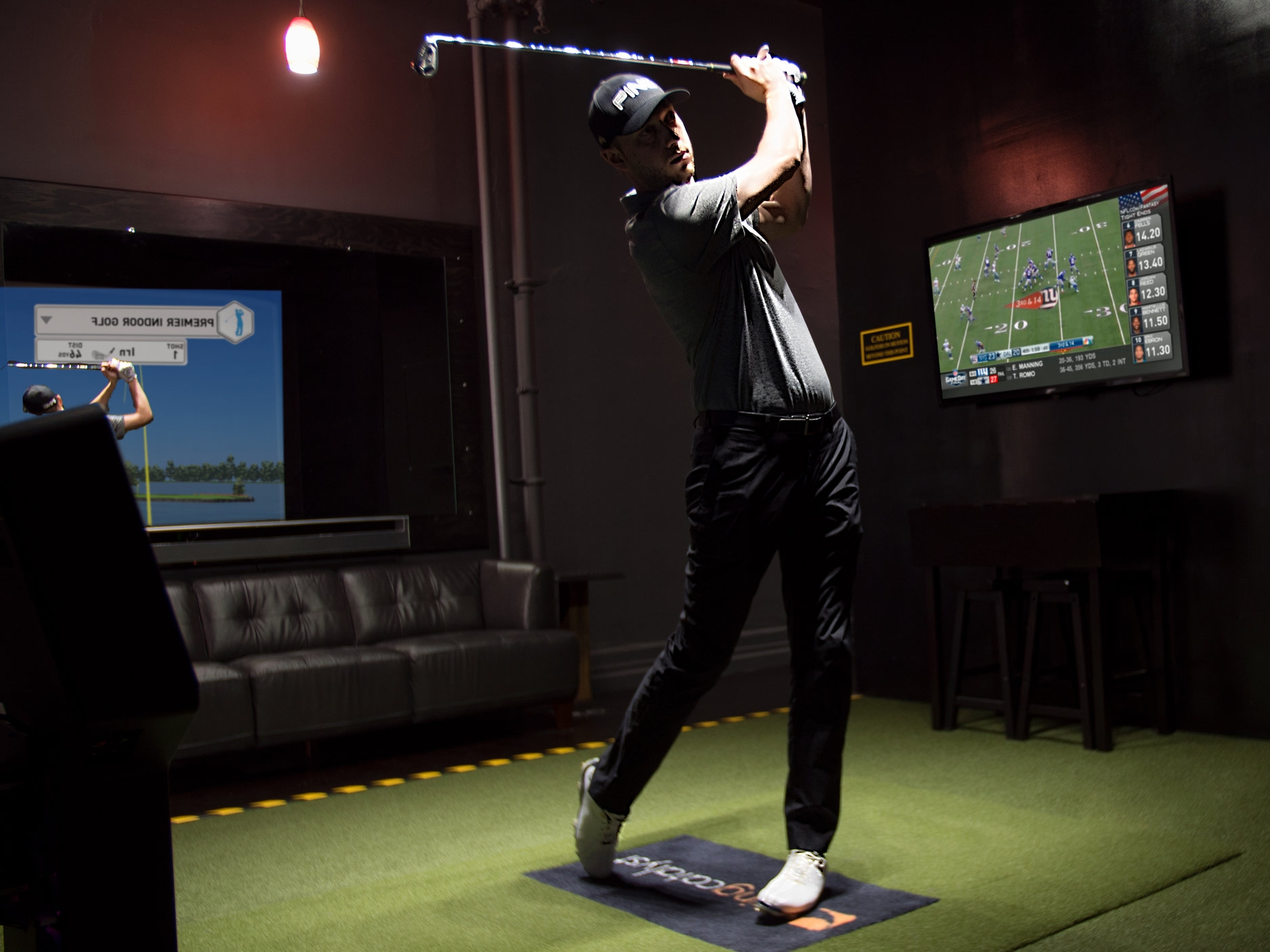 PRACTICE & PLAY - Work on your game on the driving range, play world famous courses from around the world, or challenge your friends to a skills competition. The most accurate and true-to-life simulator technology available. Our simulator bays are available to rent for up to 4 people per room with no per person charge.