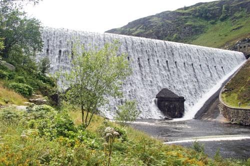 One of the dams at the Elan Valley near Rhayader