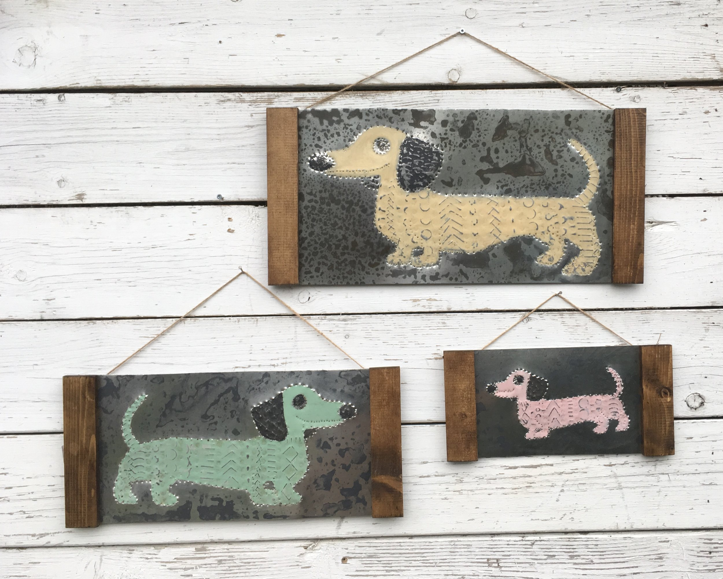 Punched Tin Dachshunds Trio Wall Hanging.JPG