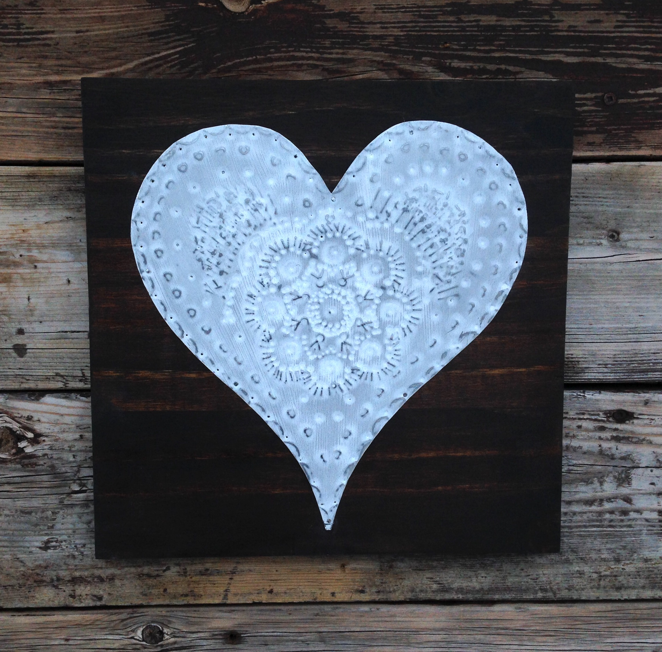 White Lace Tin Heart on dark stained board