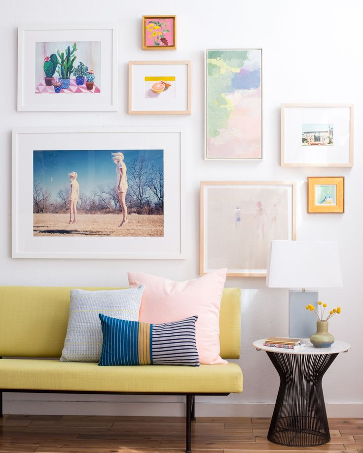 Pastel gallery wall  designed by Emily Henderson, photo by  Jess Isaac , as seen on  https://cupofjo.com/2015/07/how-to-hang-art-best-tips/