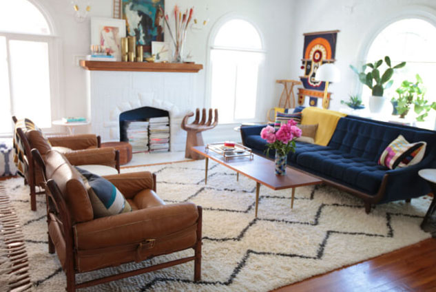 Emily Henderson's design and house as seen in  https://stylebyemilyhenderson.com/blog/video/tips-to-choosing-the-right-rug-size