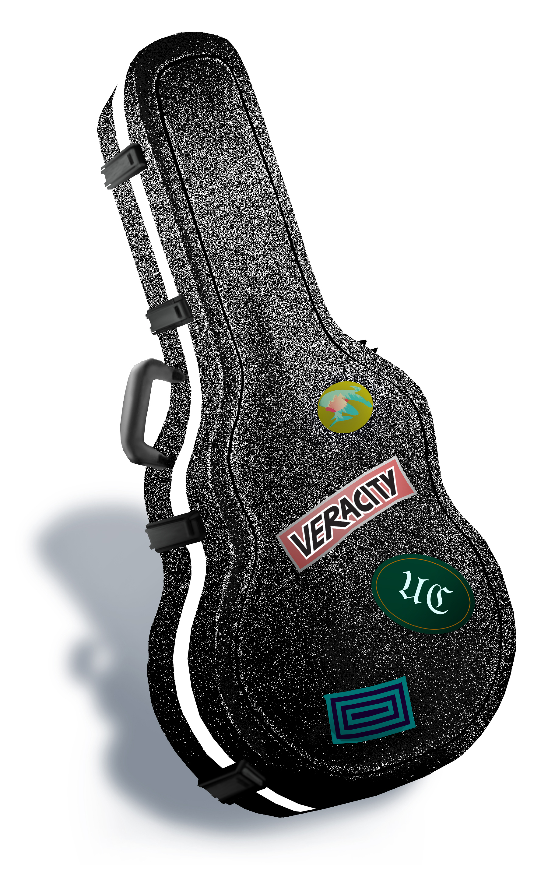 "- Graphic of a guitar case with stickers featuring the characters' band logo ""Veracity."""