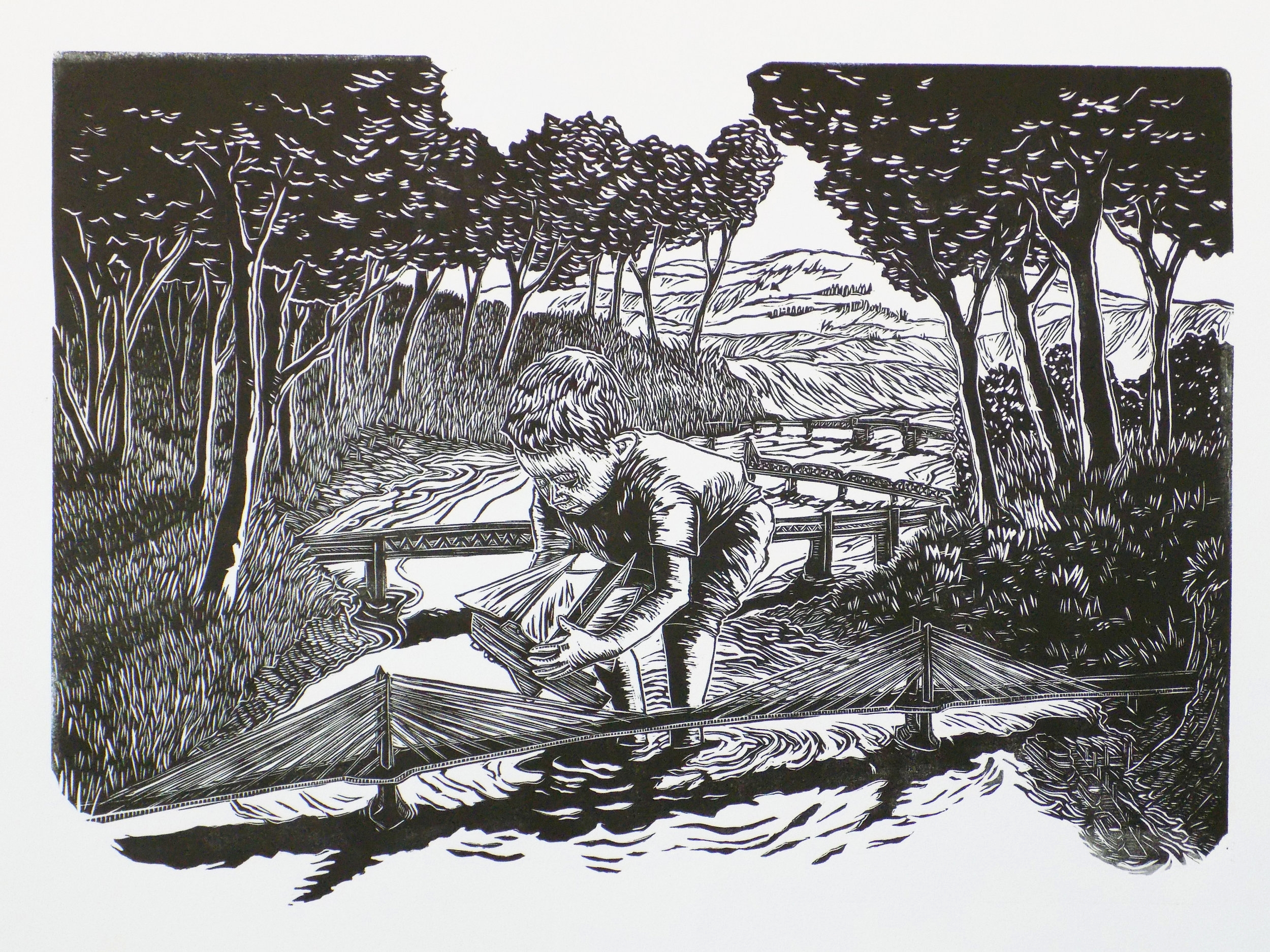 "'A BOY AND HIS BOAT"" LINOCUT"