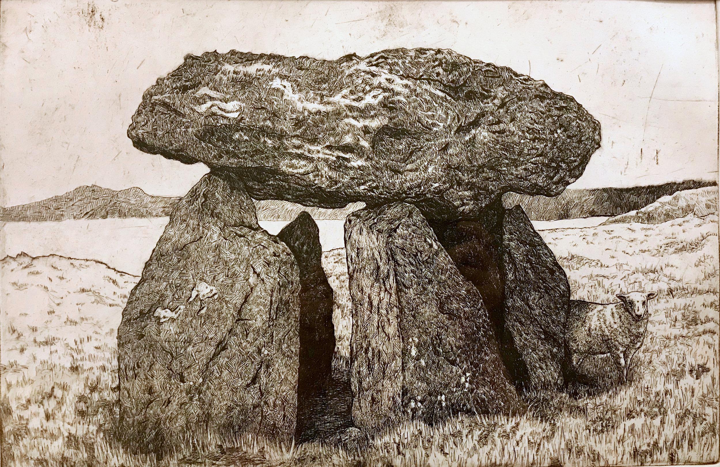 Carreg Samson etching
