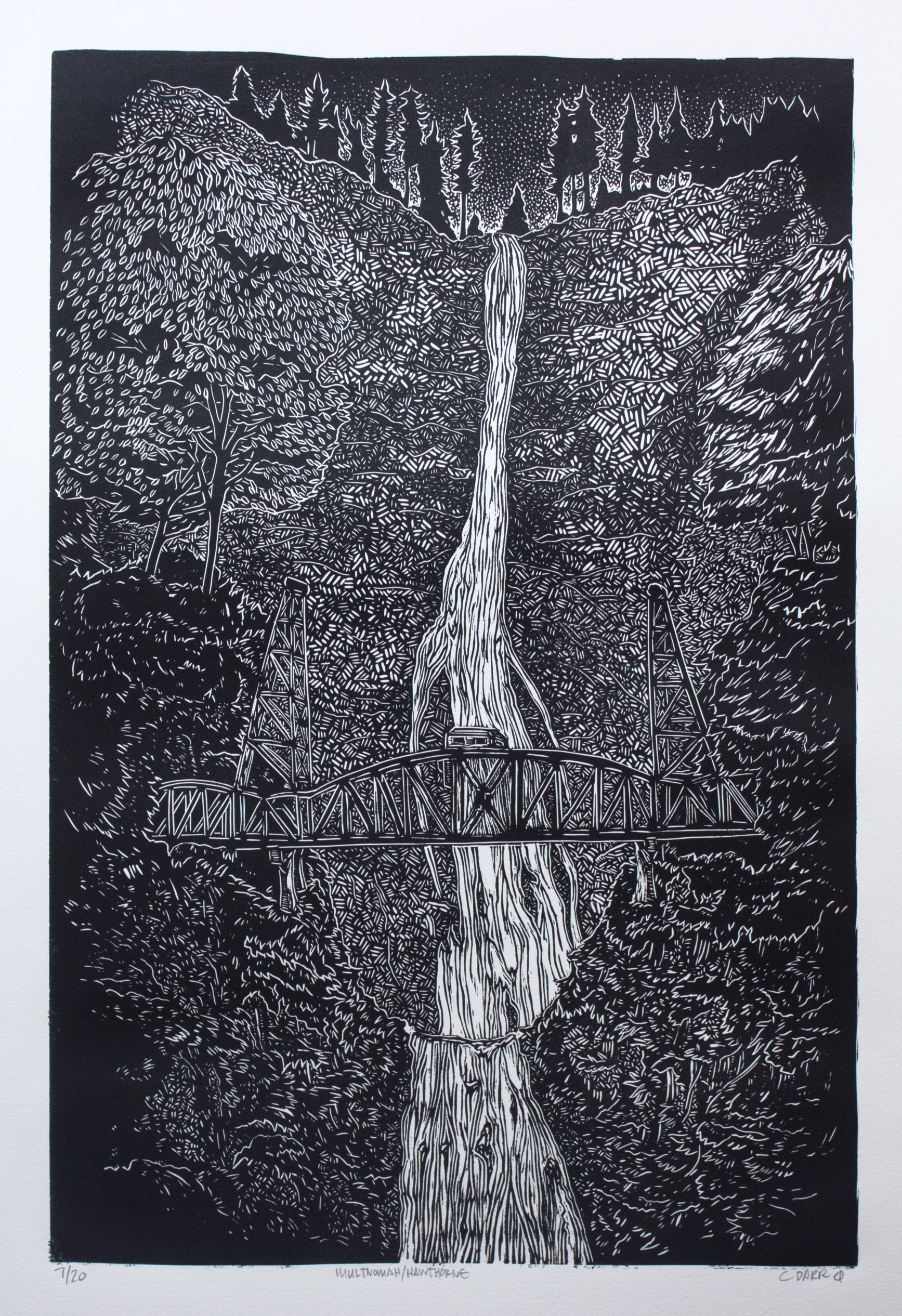 Multnomah / Hawthorne  linocut print
