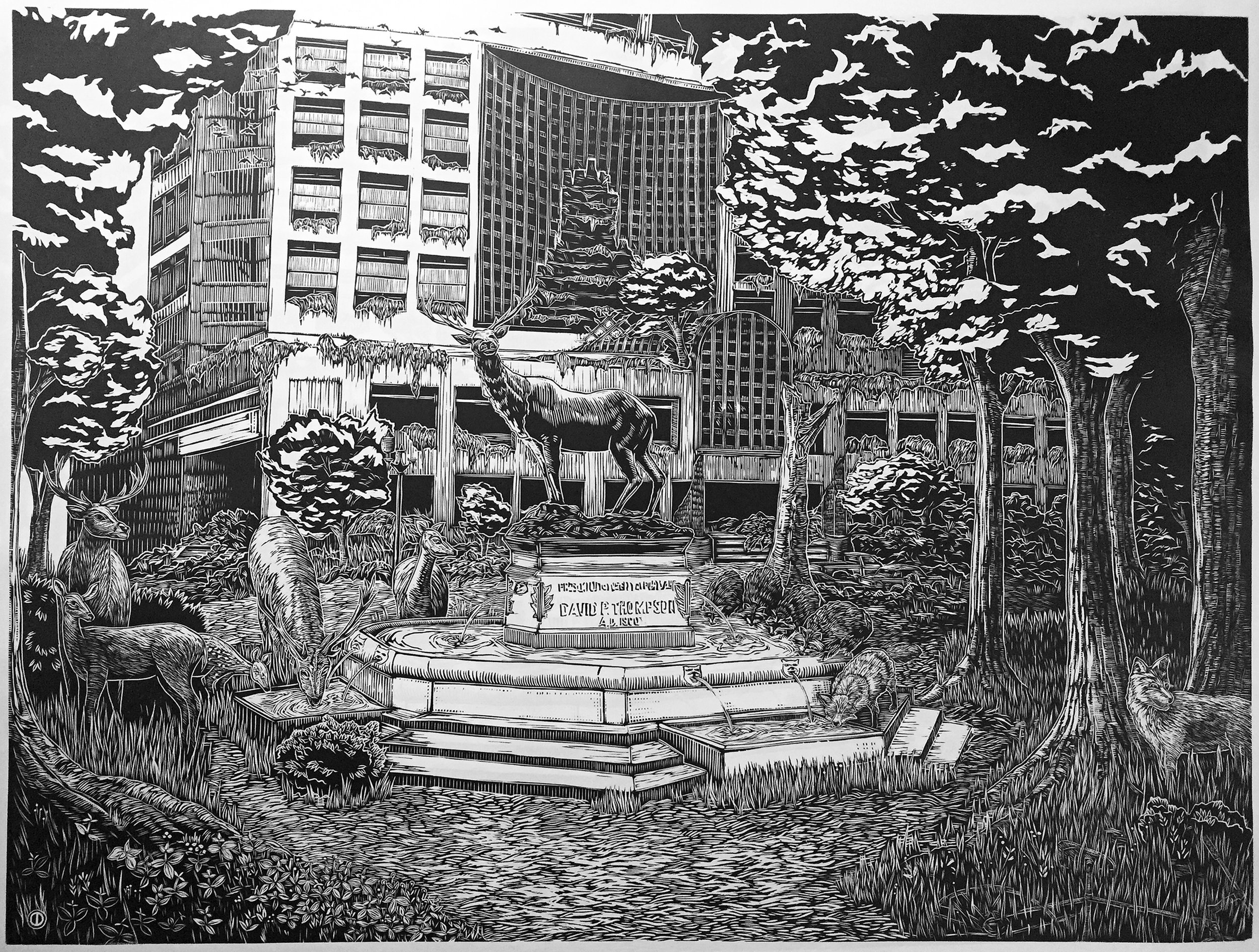 """Thompson Fountain"" woodcut"