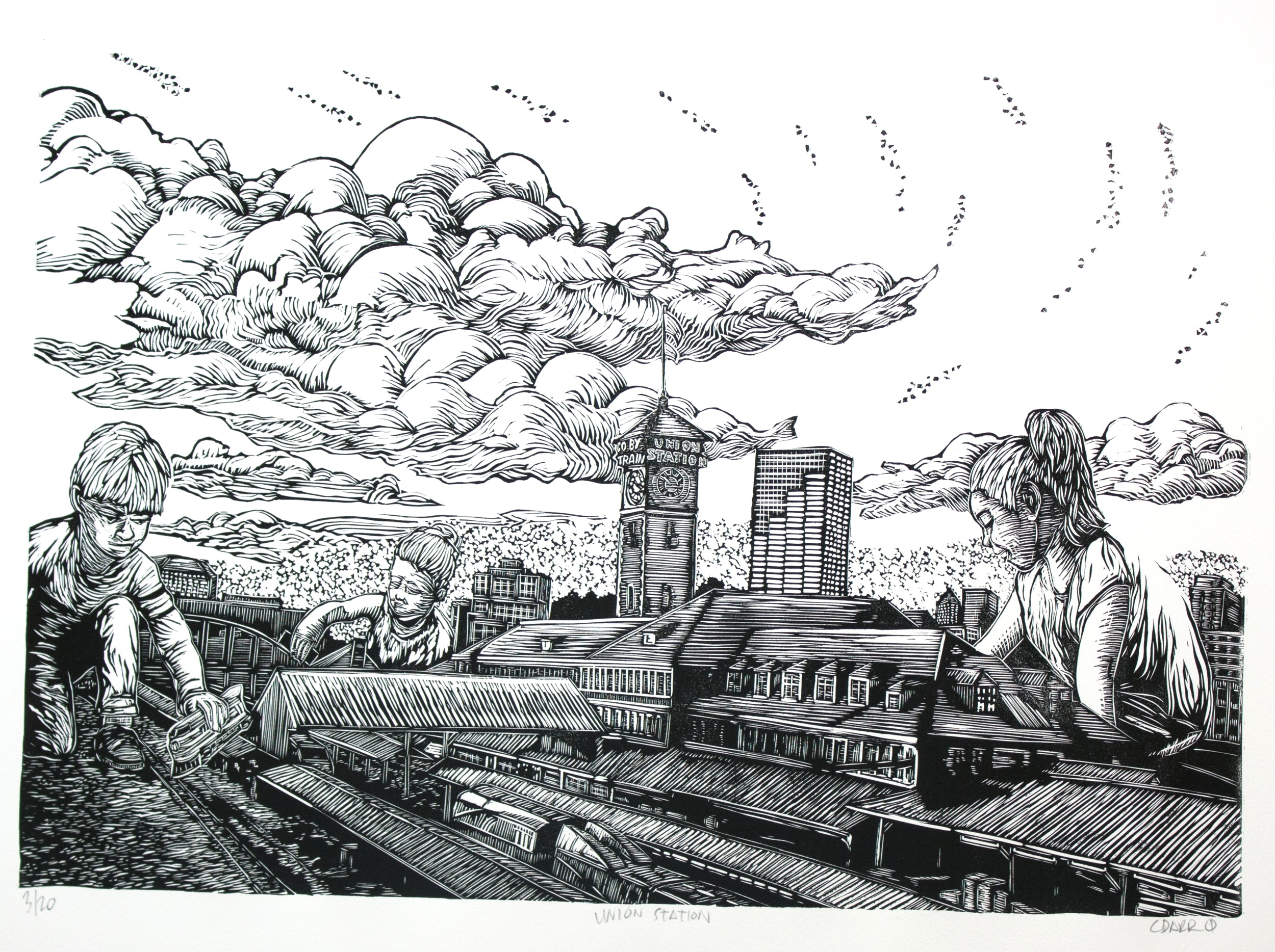 UNION STATION linocut print