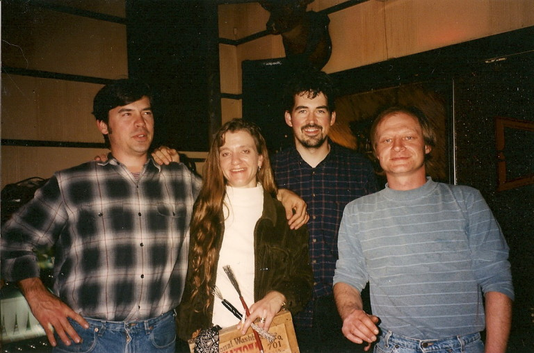 """from left: Charles """"King"""" Arthur, washboard gal, Slaid Cleaves, Paul"""