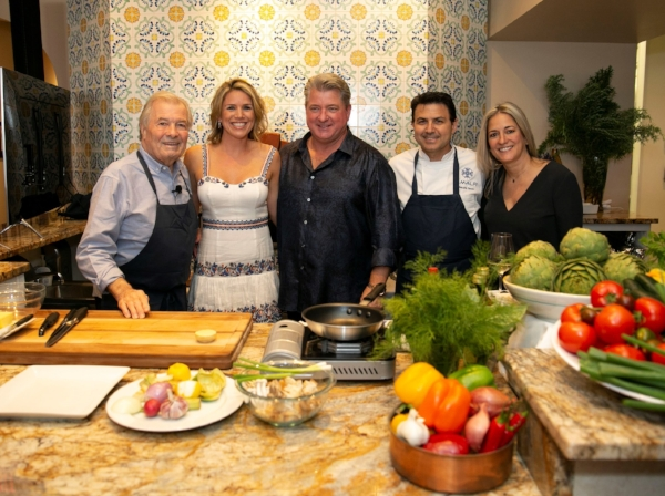 (L-R) Chef Pepin, Amy Lee, Jim Lee, Giancarlo Ferrara, Lisa Ferrara