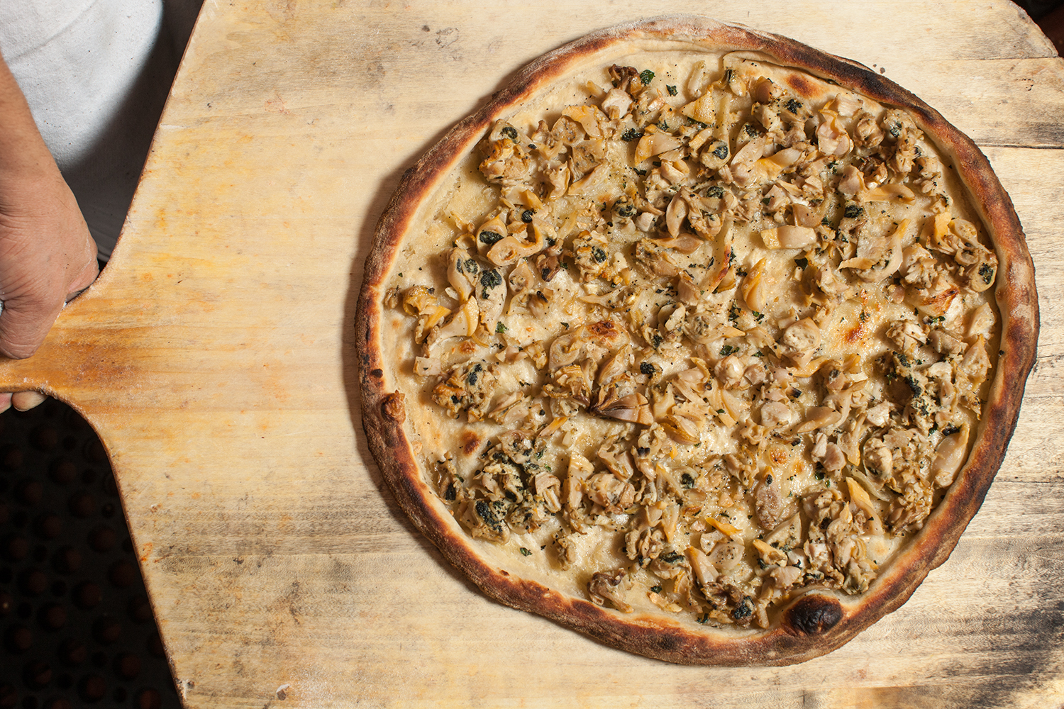 A finished clam pie.