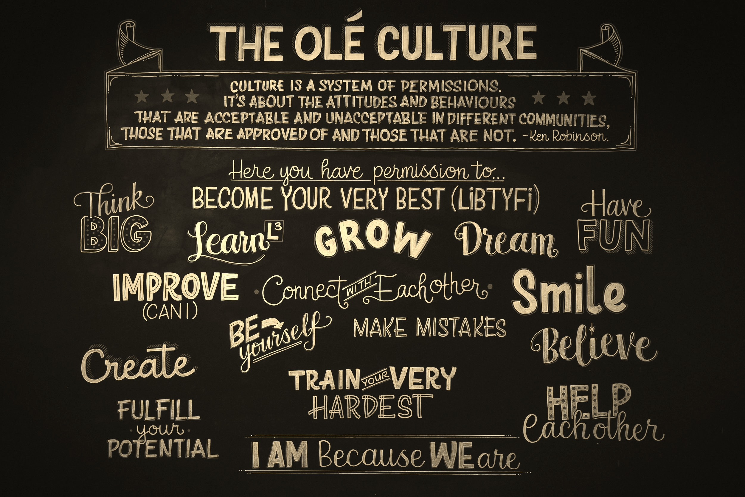 """The Olé Football Academy Culture Wall. The staff are working hard each day to """"walk the talk."""""""