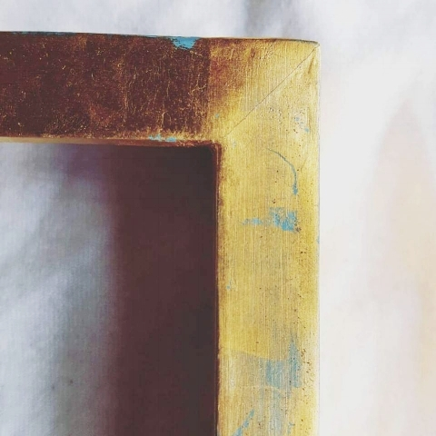 This is a modern box frame made based on Venrtian colours, Purposefully distressed to give the sense of passing time like a fading Venetian wall.