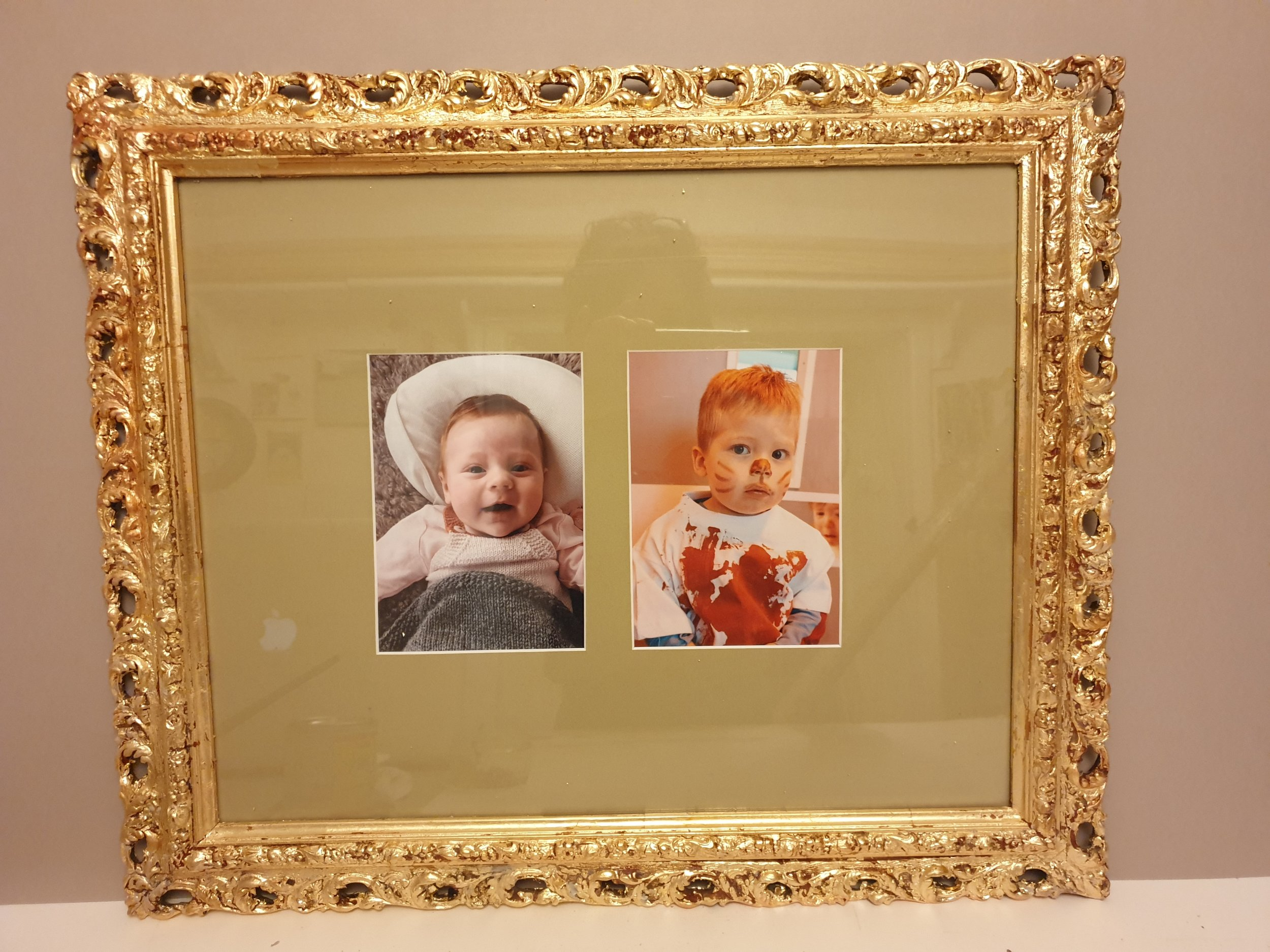 This piece is an example of an original restored 18th Century frame which has been repaired and regilded to create a showy gift piece.