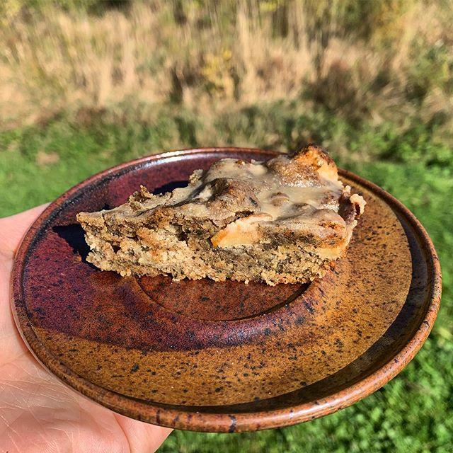 Local sweet crab apples, ground local pumpkin seed flour, couple eggs, vanilla, maple, sea salt, spices... maple glaze. #washpoppin October 🍁