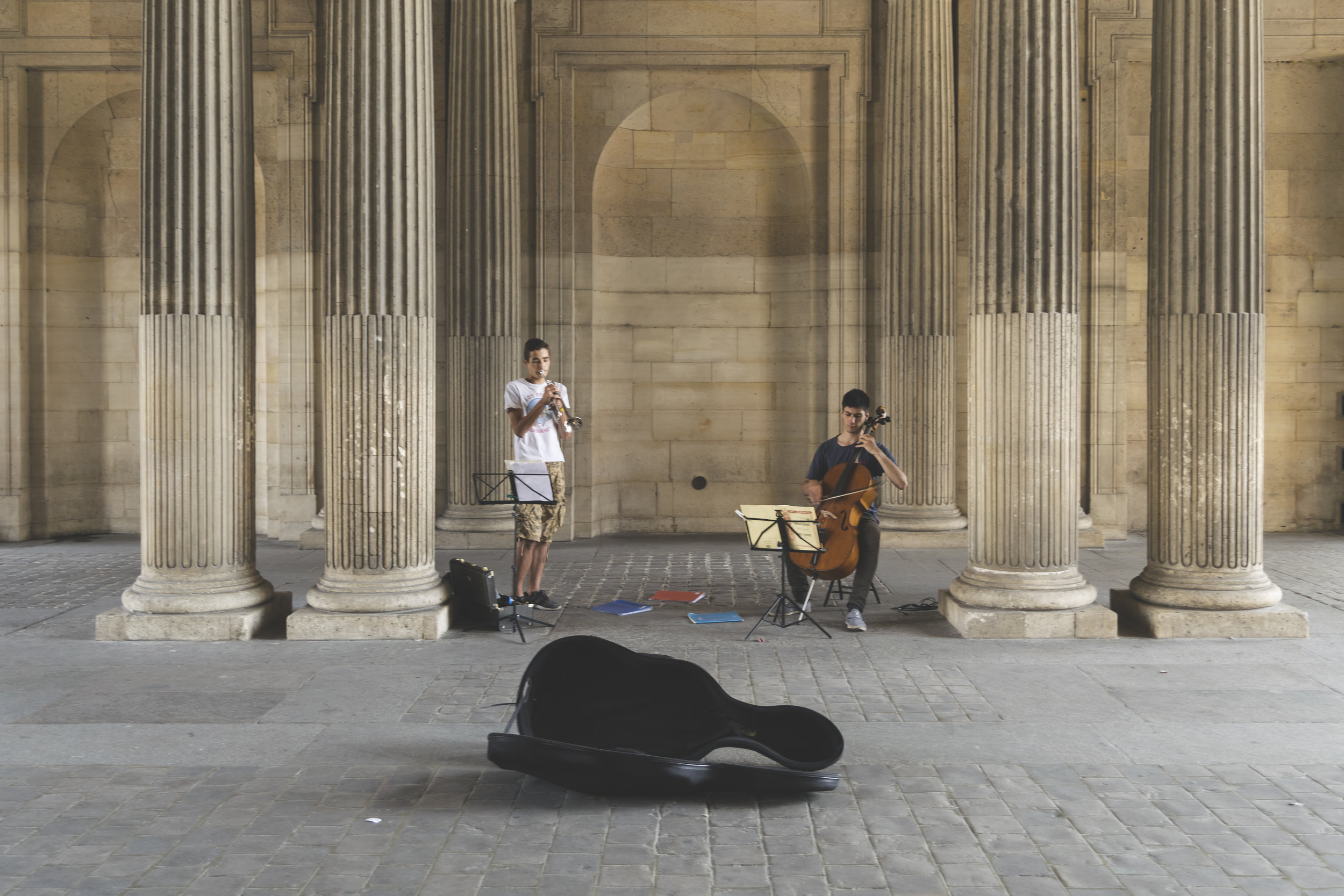 Teens Playing Music at Palais du Louvre, Paris