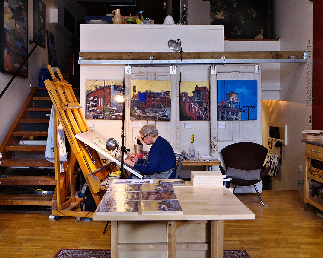 PM Shore at work in her studio.
