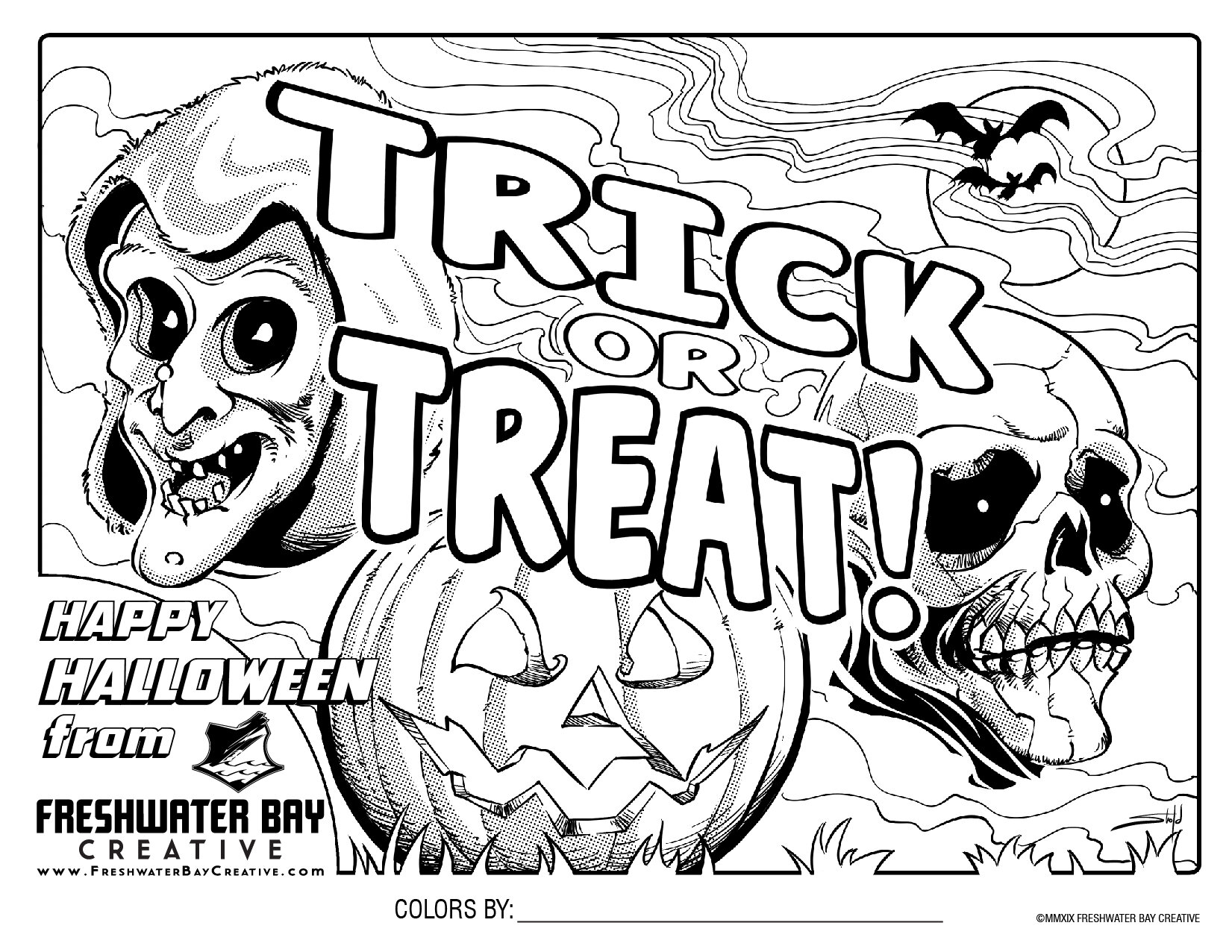 FBC Halloween Coloring Page by Kyle Shold