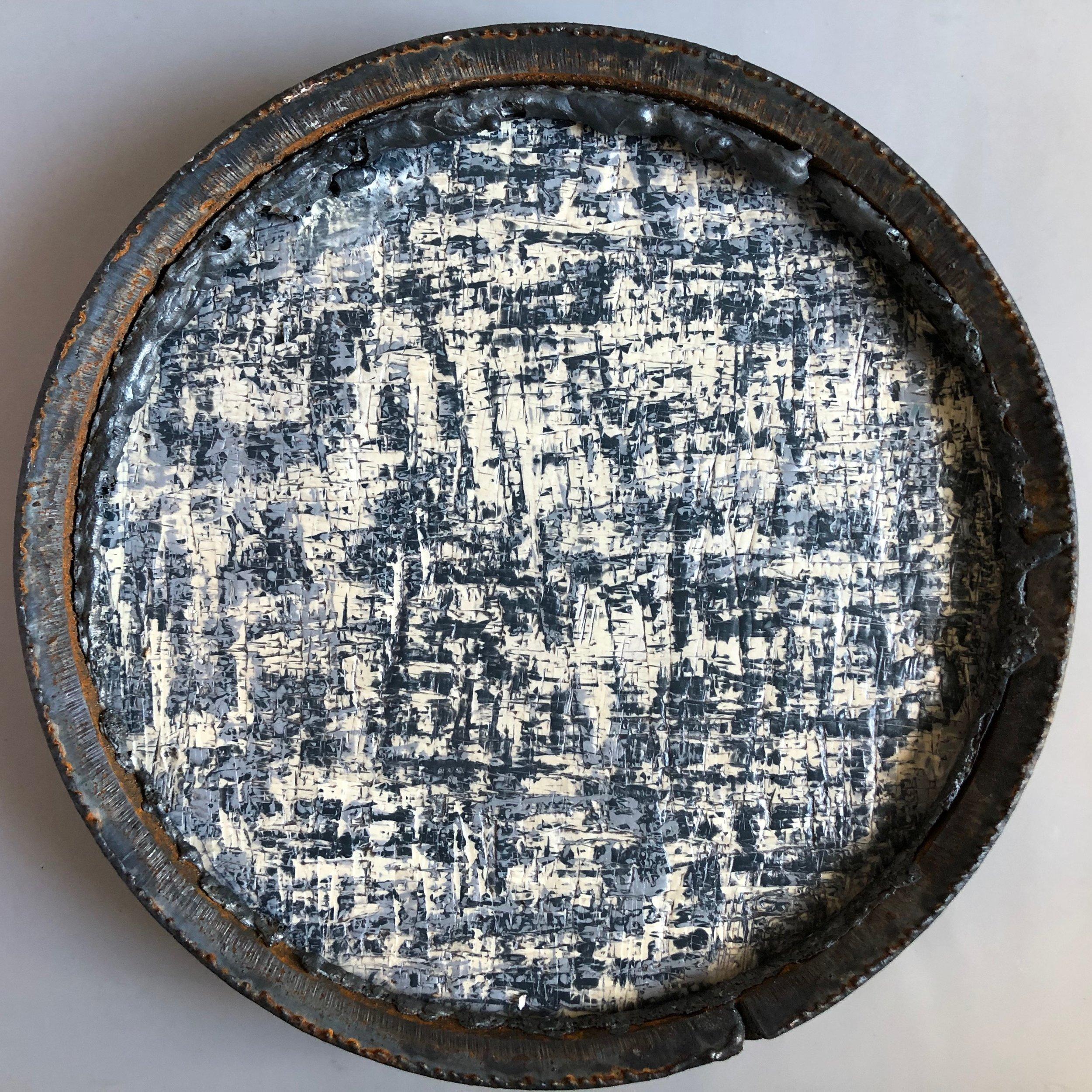 Circular Economy 1 - Found metal and encaustic on birch wood panel12
