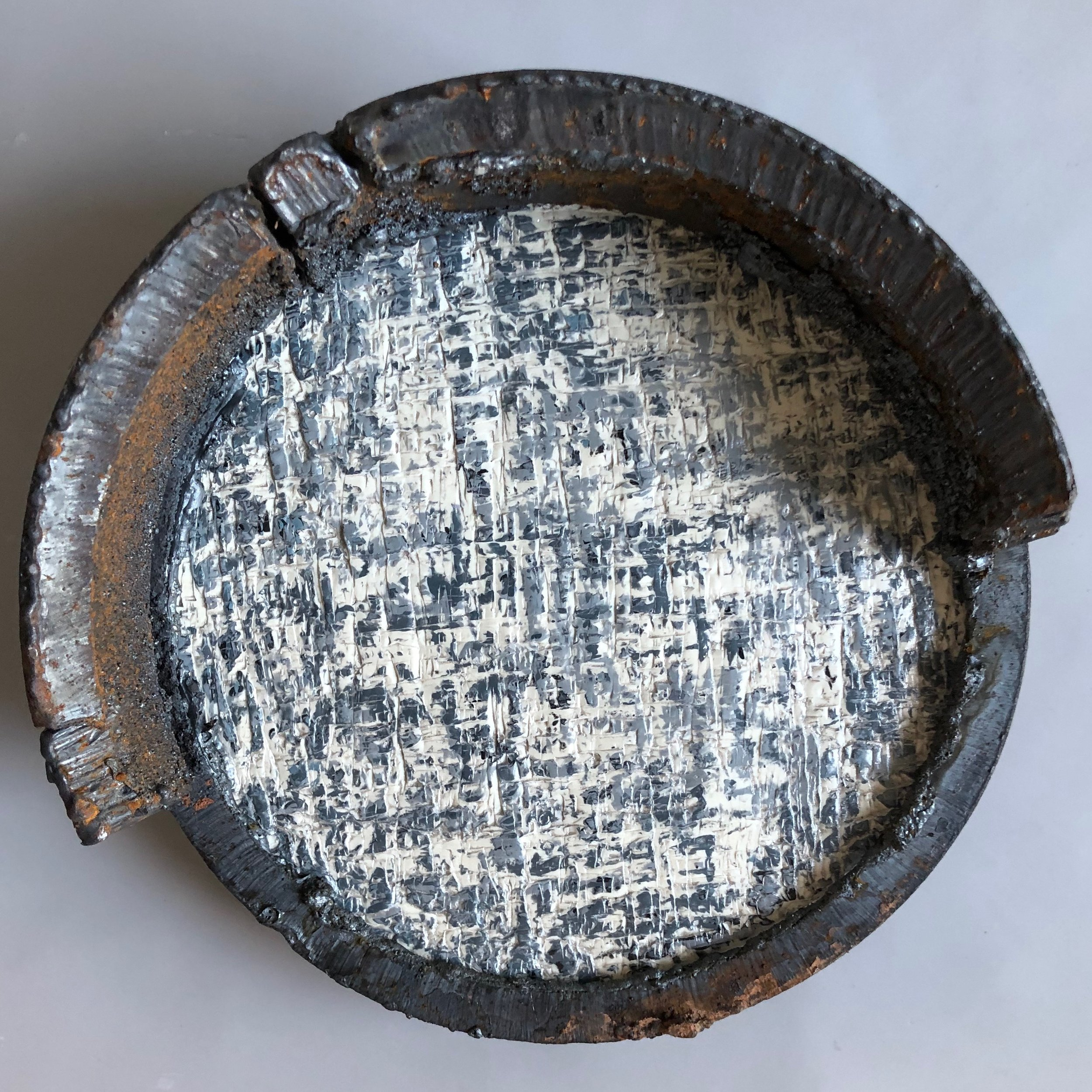 "Circular Economy 2 - Found metal and encaustic on birch wood panel8"" in diameter2018"