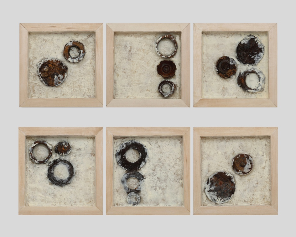 ODE TO DEAD       HORSE BAY - Found metal and encaustic in birch wood panel6 pieces, 8