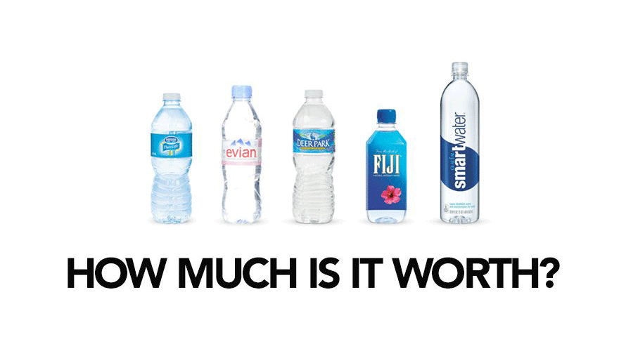 Water is water, but depending on the label, you'd pay more and not even think about it.