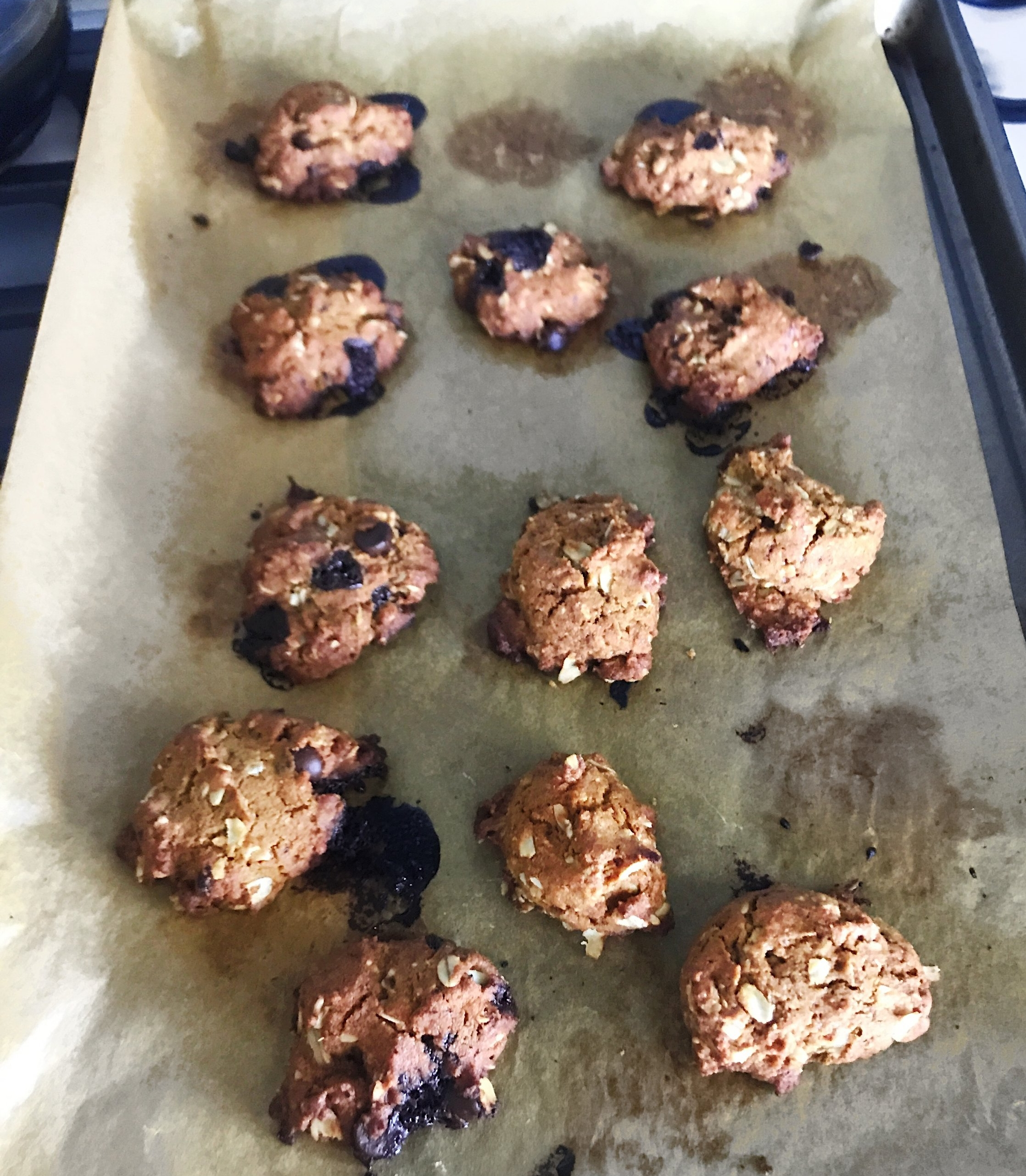 Recipe for Gluten Free Oatmeal Cookies (chocolate and non-chocolate)  Ingredients:  1.25 C brown rice flour  Bobs Redmill  1/2 C gluten free oats  Bobs Redmill  1 egg white 1 tsp baking soda 1/2 C  Wholesome Sweet  coconut sugar or regular sugar 1/4 C tapioca starch 1 tsp cinnamon 1/4 C agave nectar 1 tbsp  Fourth and Heart  Ghee Butter (regular butter works just fine, put in a little bit extra and a dash of salt) 1/4 C Coconut oil. .  **To make them chocolate chip, add in 1/4 C to 1/2 C chocolate chip I used  Enjoy life foods  vegan chips and a little bit up chopped of  Eating Evolved  midnight (optional) **  Mix dry goods then wet. Heat oven to 375 F. Spread parchment paper on your cookie sheet and dish out tbsp of cookie batter. Cook for 10-11 min. It is best to eat with in a few days. Store it in an airtight container either the freezer for long time storage or after a day place it in the fridge. Leaving them out for a day is ok.