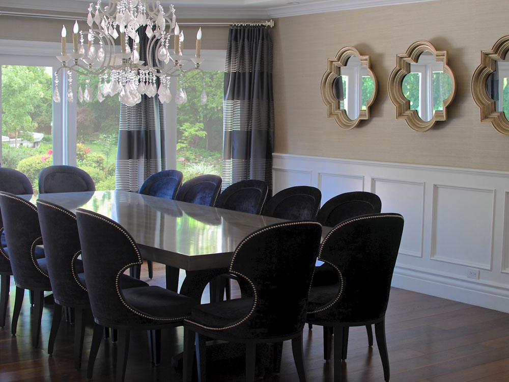 A Saghian-designed dining room featuring a rock crystal chandelier.