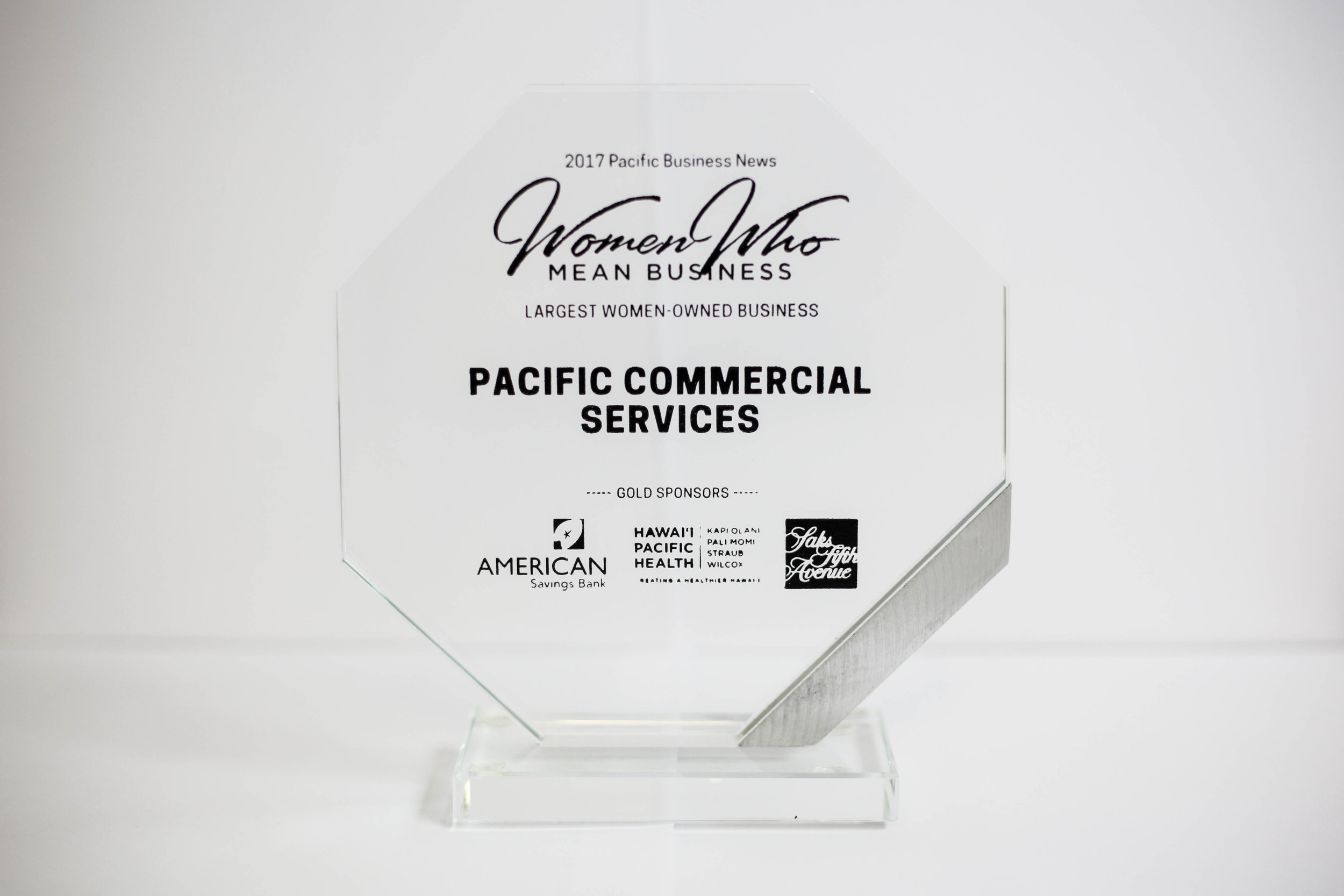 2017 Largest Women-Owned Business - Awarded by Pacific Business News