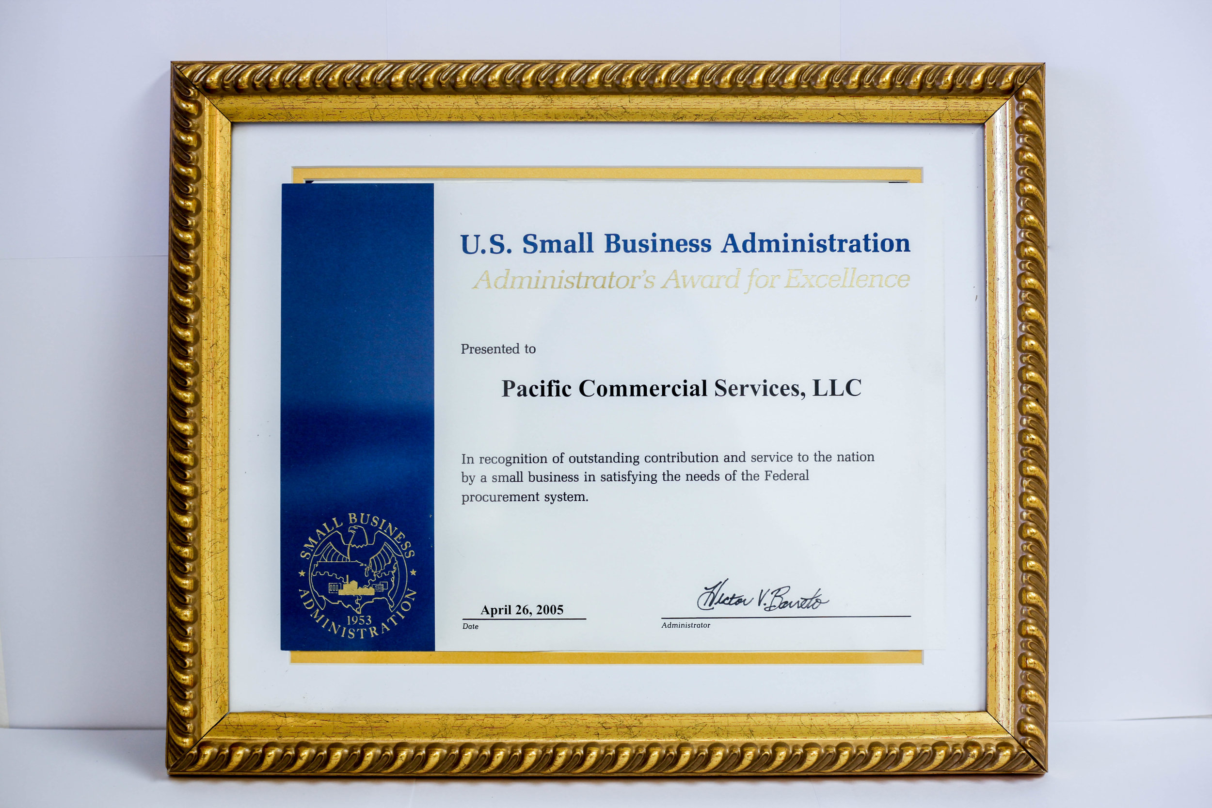 2005 U.S. SBA Award of Excellence - Awarded by the U.S. Small Business Administration