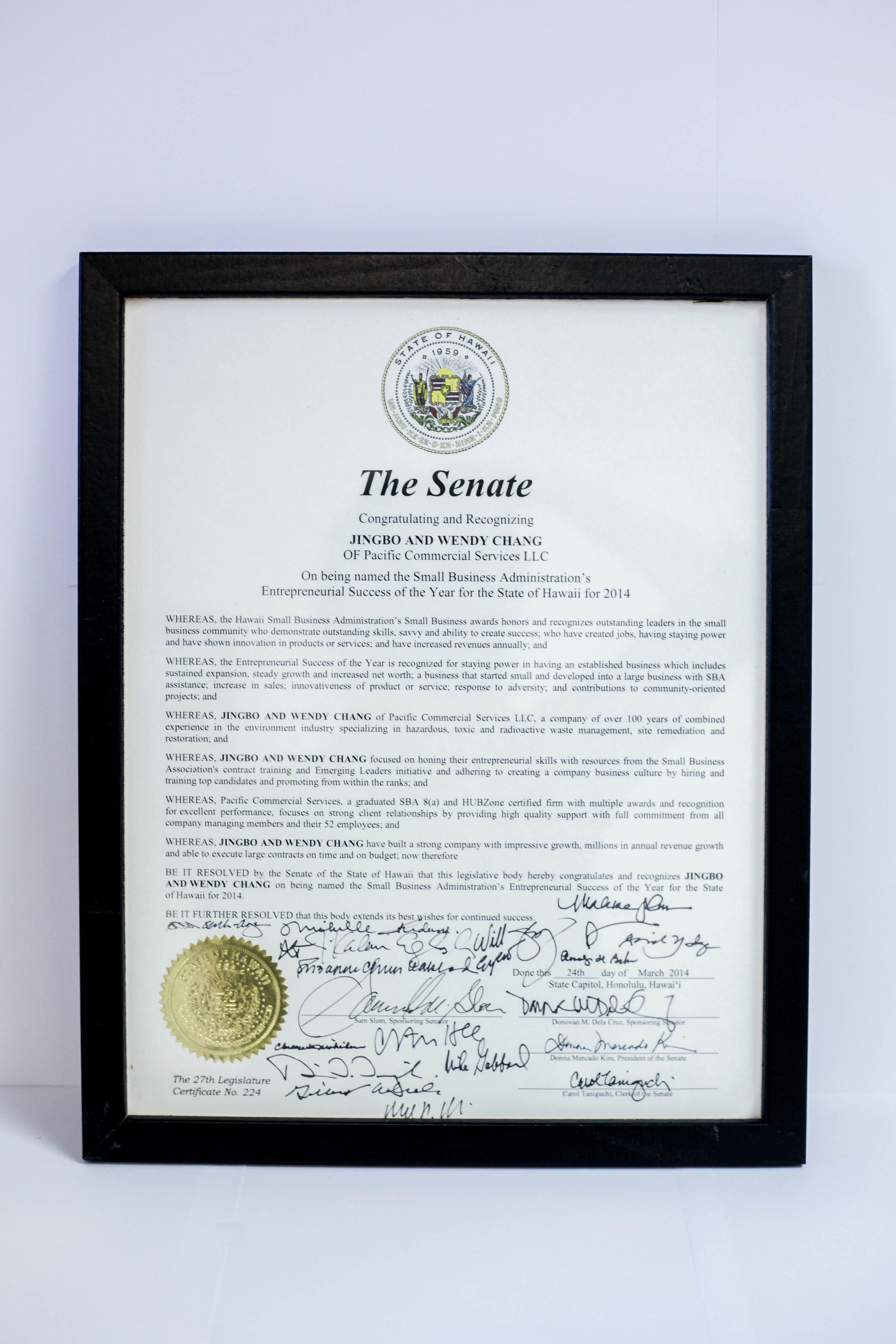 2014 SBA Entrepreneurial Success - Awarded by the Senate
