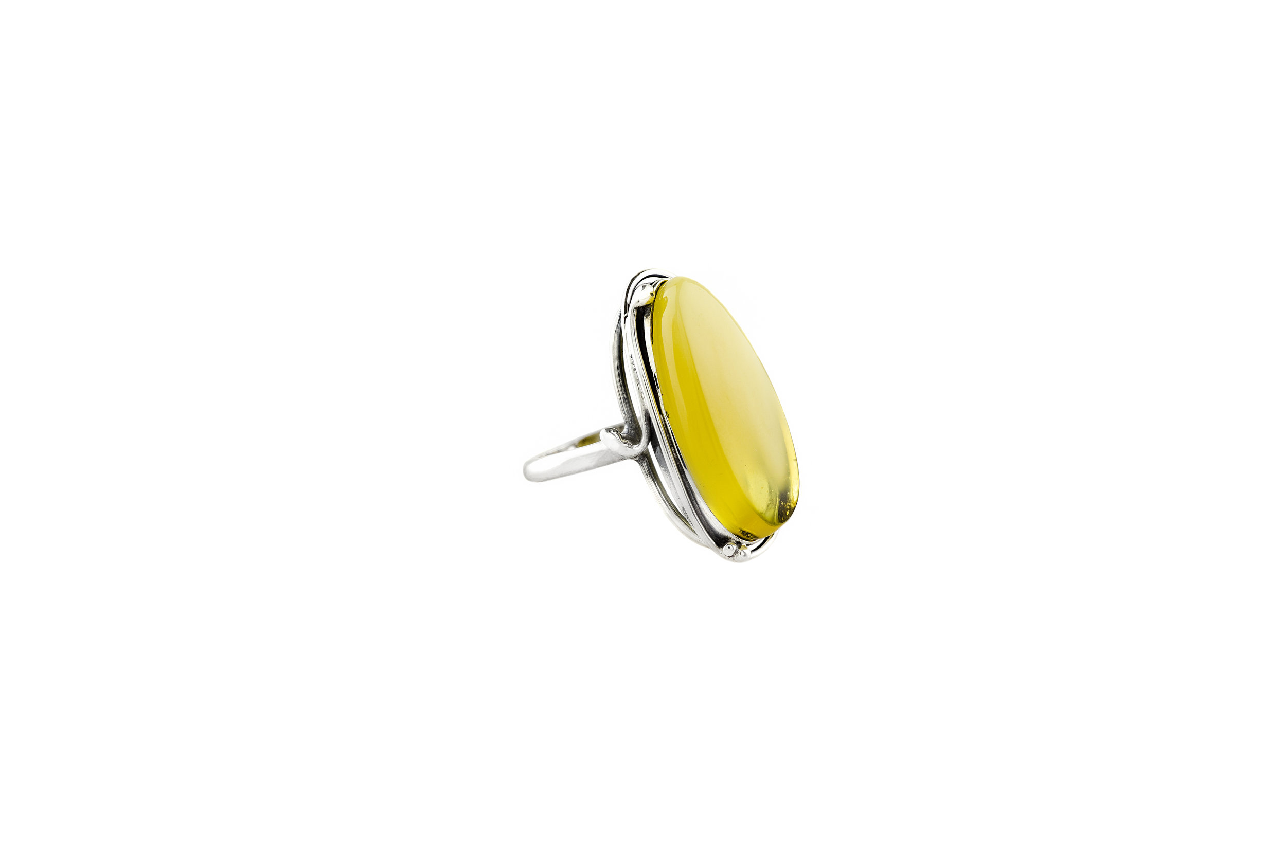 Sterling Silver Green Amber Classic Marquise Ring
