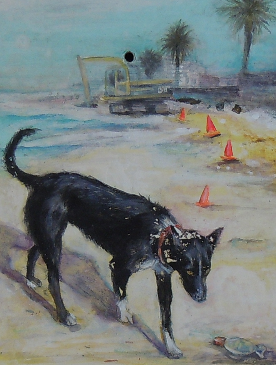 Landscape with Still life Black Dog