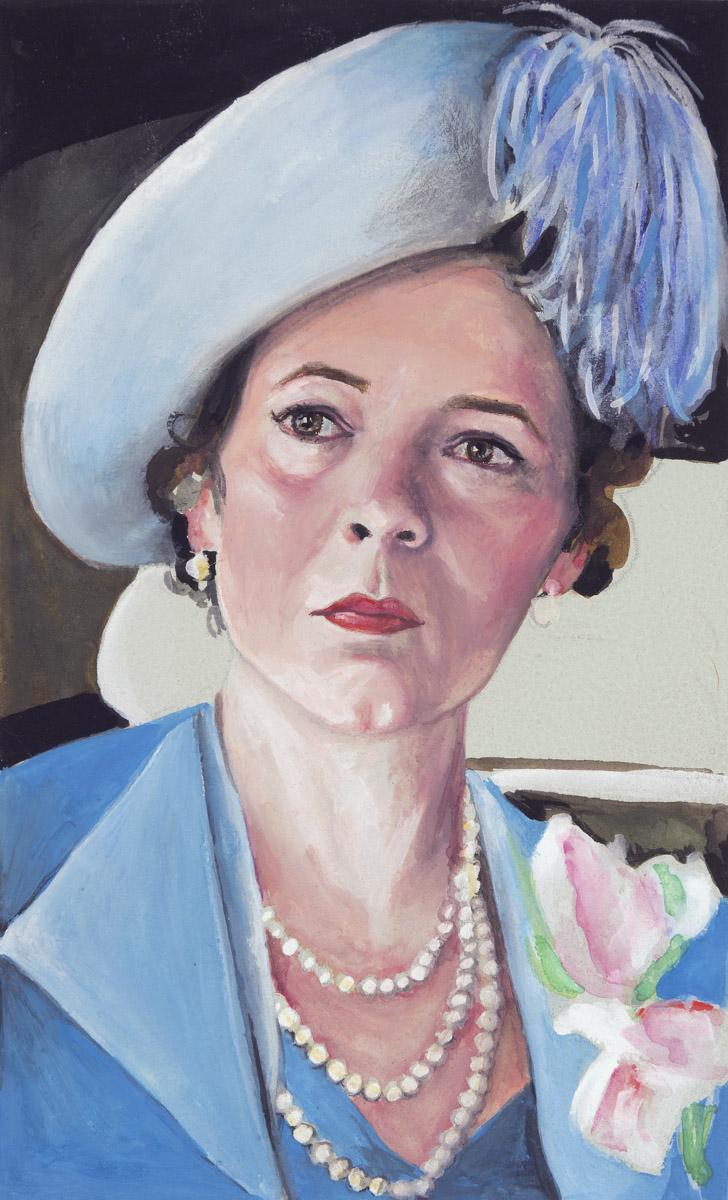 "Olivia Colman as the Queen in ""Hyde on Hudson""  2012  Gouache on paper, 13cm x 8cm  Historical epics produced by Hollywood inevitably say more about the era in which they're produced than the eras they represent……..  Because Hyde Park projects the values of the sexual revolution onto the New Deal president and his wife, some might presumptively classify it as a political exercise in character assassination…….. Hyde Park is very much a product of the current political era's tawdry obsession with fame and celebrity.   The Atlantic , Dec 7, 2012"