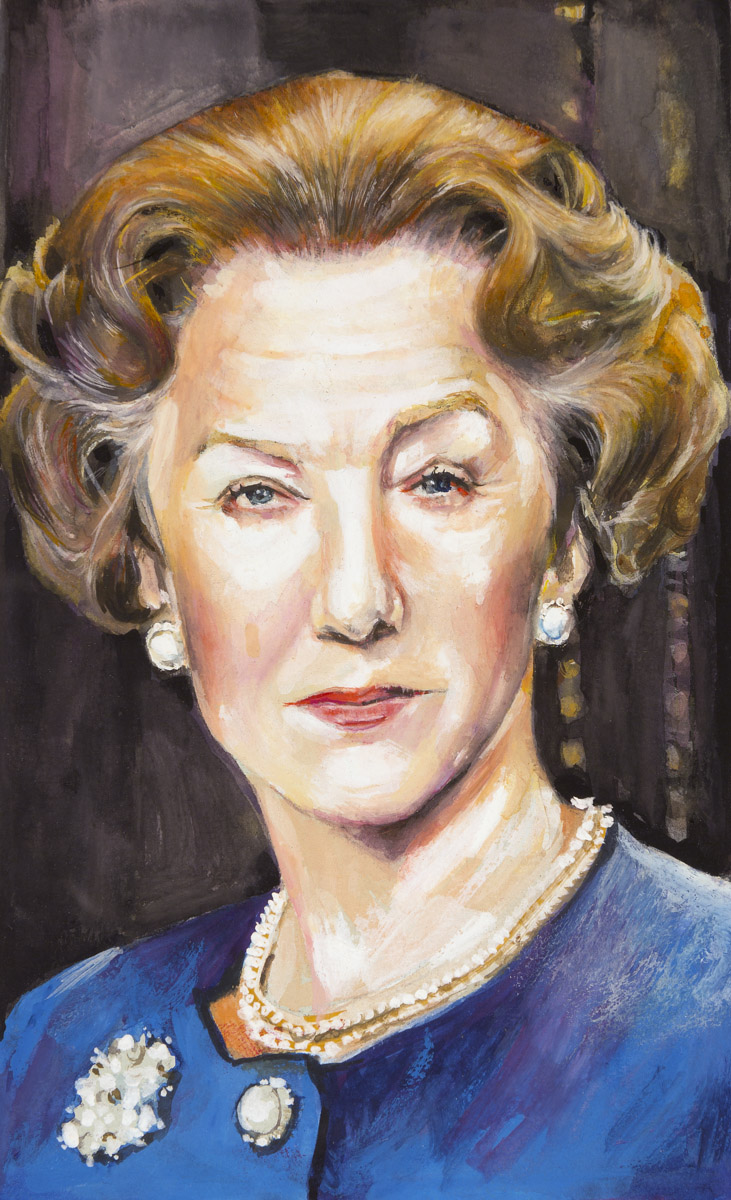 "Helen Mirren as the Elizabeth II in ""The Queen""  2006  Gouache on paper, 13cm x 8cm  Mirren won the Academy Award for the Best Actress  The Queen praised Mirren's portrayal and invited Mirren over for dinner at Buckingham Palace but Mirren was unable to go due to a prior commitment.   Wikipedia"