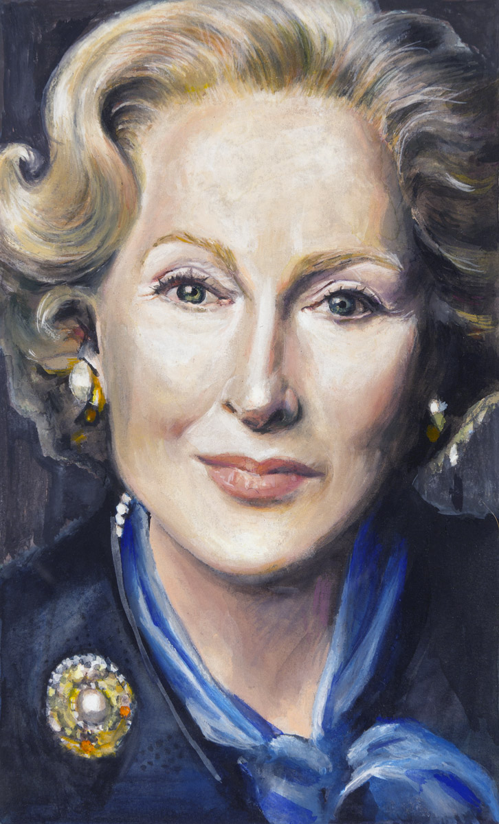 "Meryl Streep as Margaret Thatcher in ""The Iron Lady'  2011  Gouache on paper, 13cm x 8cm  ""Poor Margaret Thatcher: her transformation into biopic drag queen is now complete………..Meryl Streep has done more for her than any spin-doctor.""   The Guardian, Peter Bradshaw, 5 January 2012"