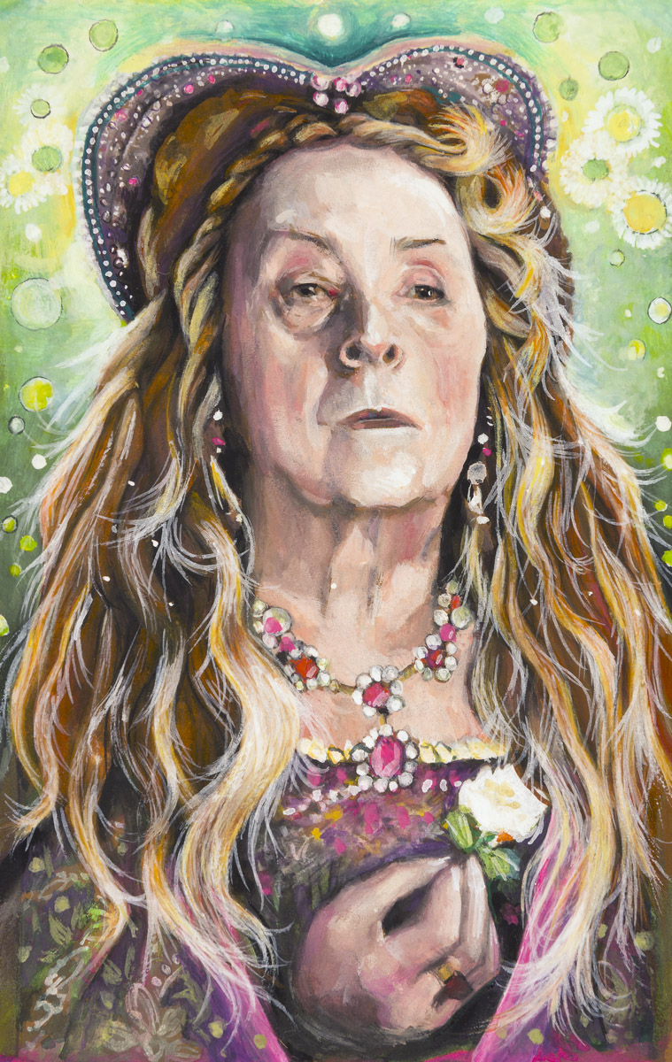 "Quentin Crisp as Elizabeth I in ""Orlando"" 1992    Gouache on paper, 13cm x 8cm   Kenneth Turin of the Los Angeles Times described Orlando as ""hollow… smug… and self-satisfied"""