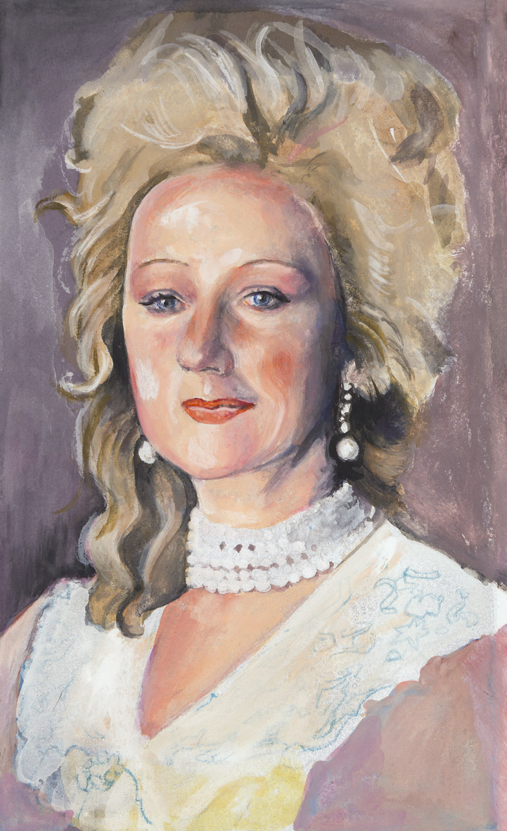 "Helen Mirren as Queen Charlotte in ""The Madness of King George""  1994  Gouache on paper, 13cm x 8cm  Mirren scored a Best Supporting Actress nomination from the Academy – and a Best Actress award at Cannes….""  Rotten Tomatoes   Wikipedia"