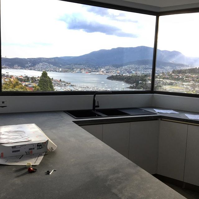 Ormond project progress. Views from the sink aren't too shabby. @frankekitchen Tapware & Sink @renshawstone Benchtops @schueco Windows @mccarthyreedarchitects