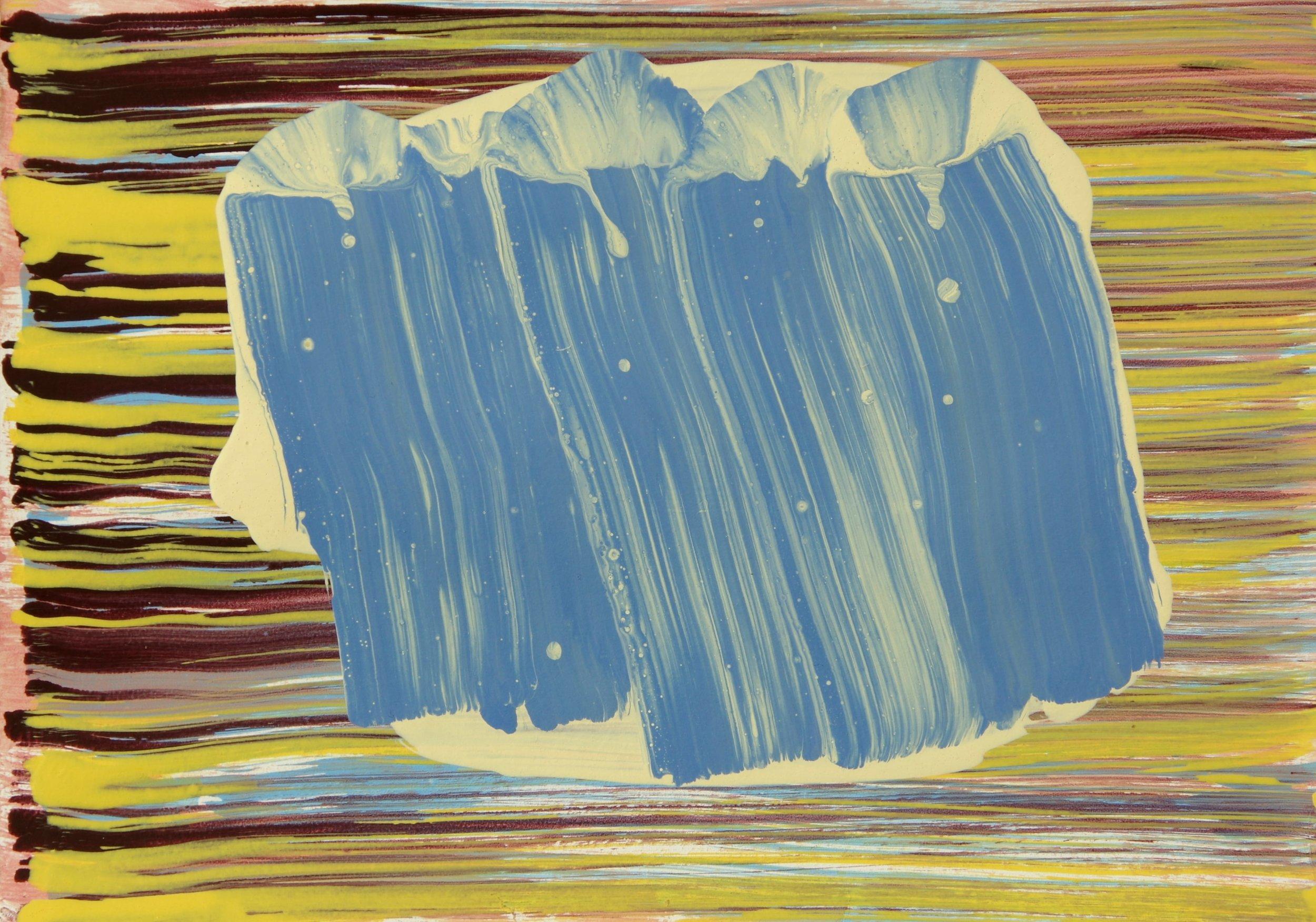 Blue Gesture 2  2016, 21 x 29.5cm acrylic on paper
