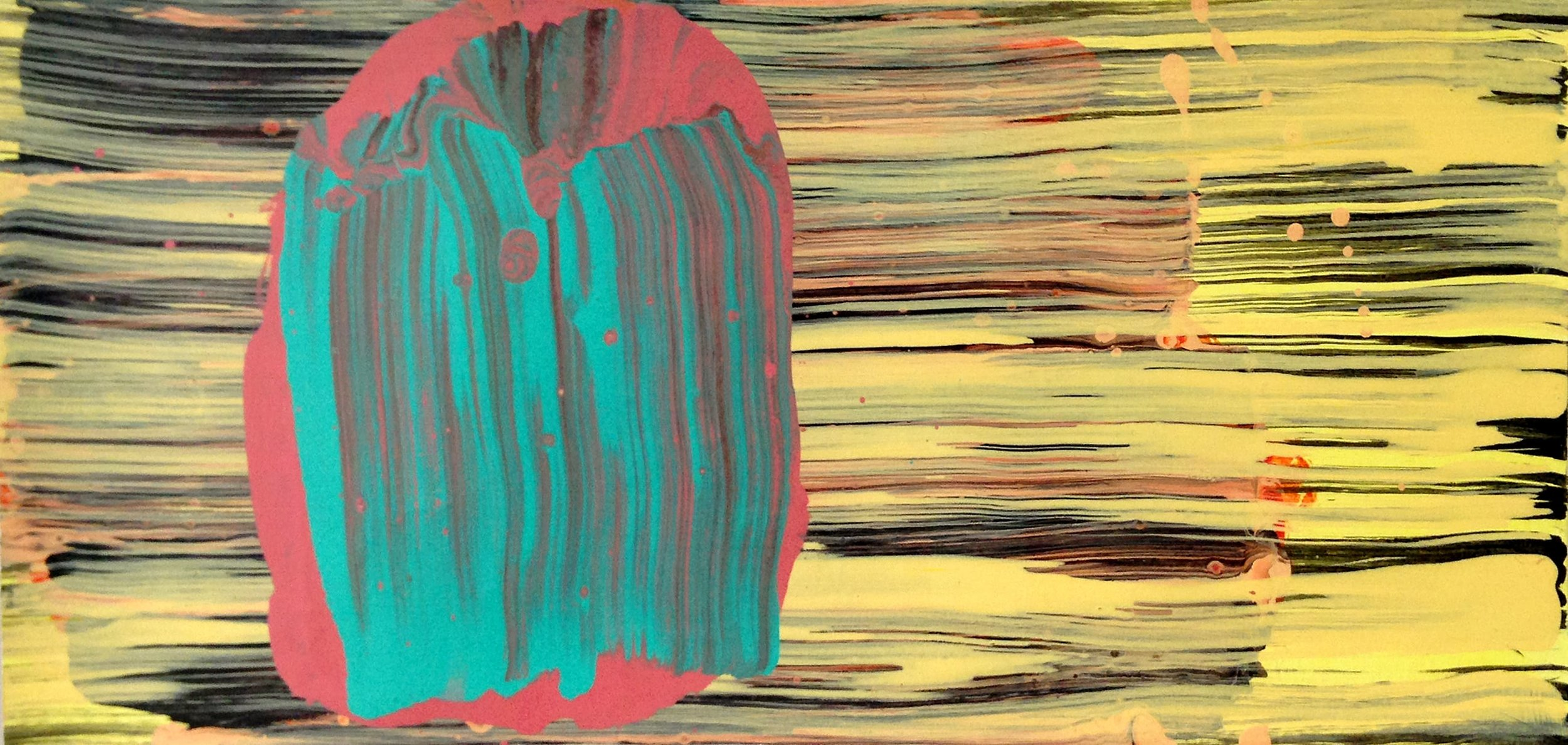 Turquoise Gesture  2016, 15 x 33cm acrylic on paper
