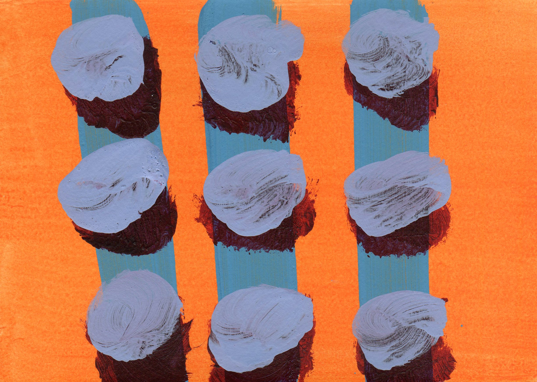 Line-up 2  2011, 15 x 21cm acrylic on paper