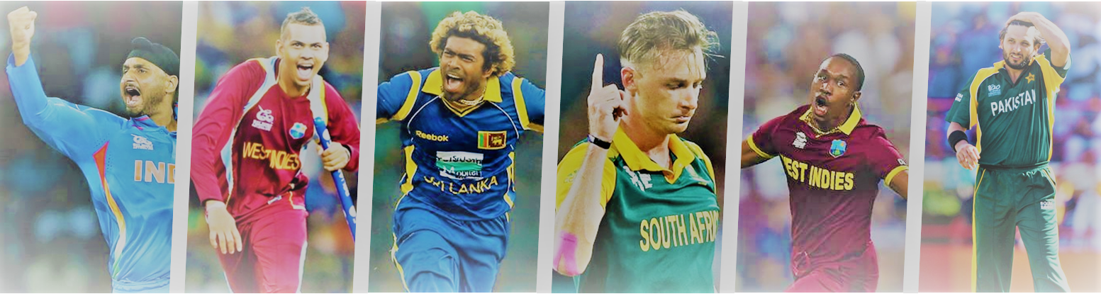 Title picture including all six featured bowlers in this post: Harbhajan Singh, Sunil Narine, Lasith Malinga, Dale Steyn, Dwayne Bravo, Shahid Afridi
